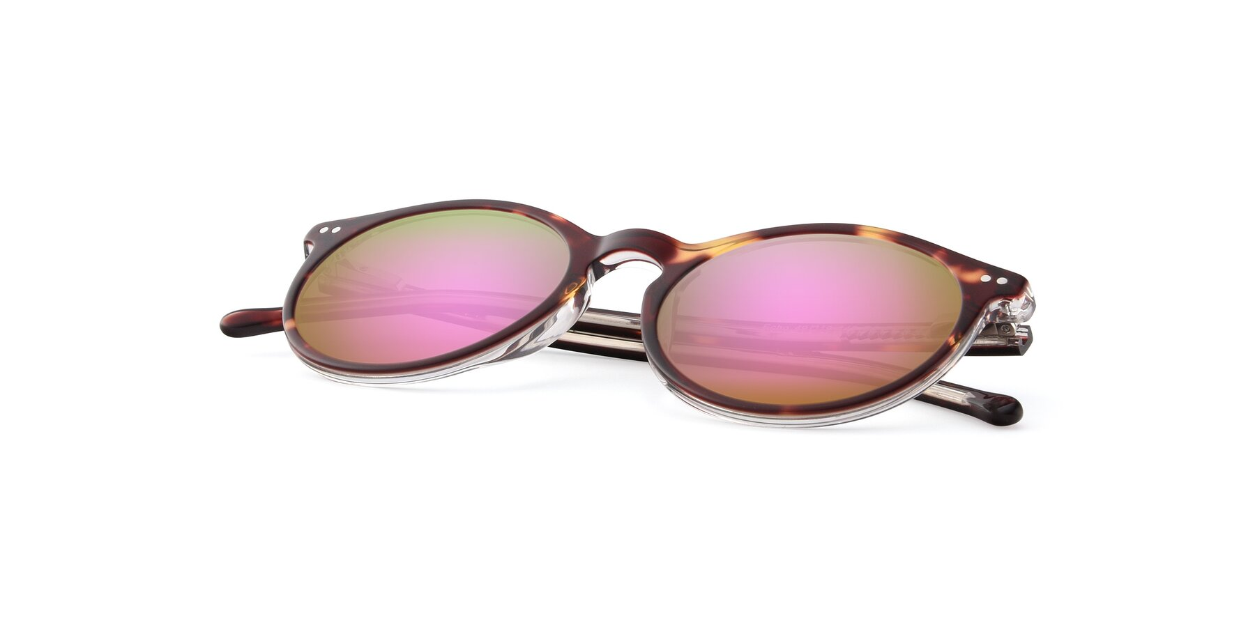 View of JS9026A in Tortoise-Clear with Pink Mirrored Lenses
