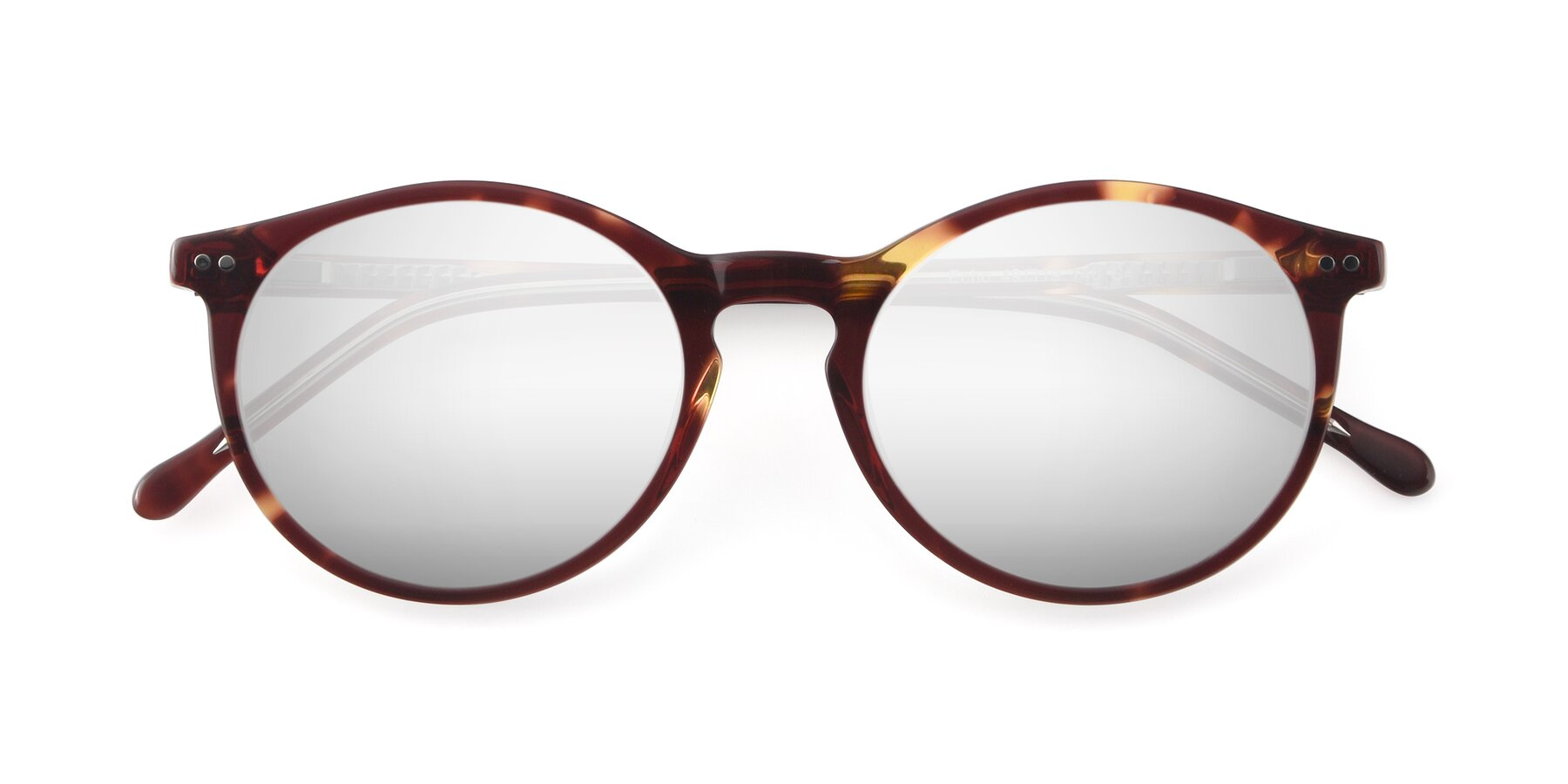 Folded Front of JS9026A in Tortoise-Clear with Silver Mirrored Lenses