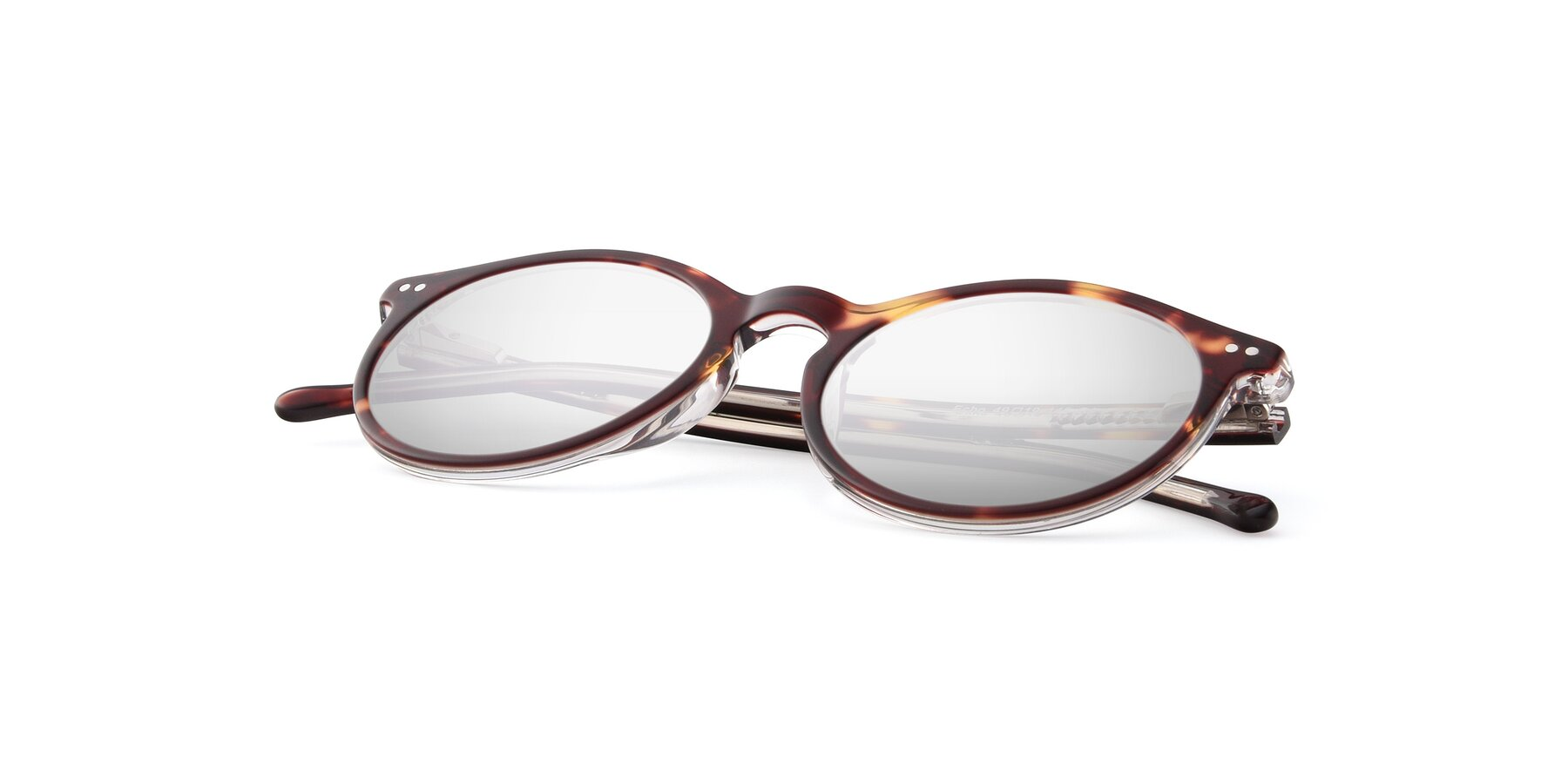 View of JS9026A in Tortoise-Clear with Silver Mirrored Lenses