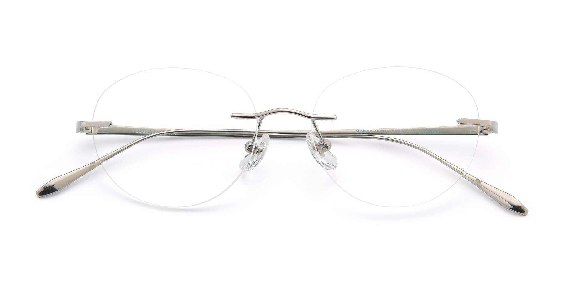 Folded Front of Sober in Silver with Clear Blue Light Blocking Lenses
