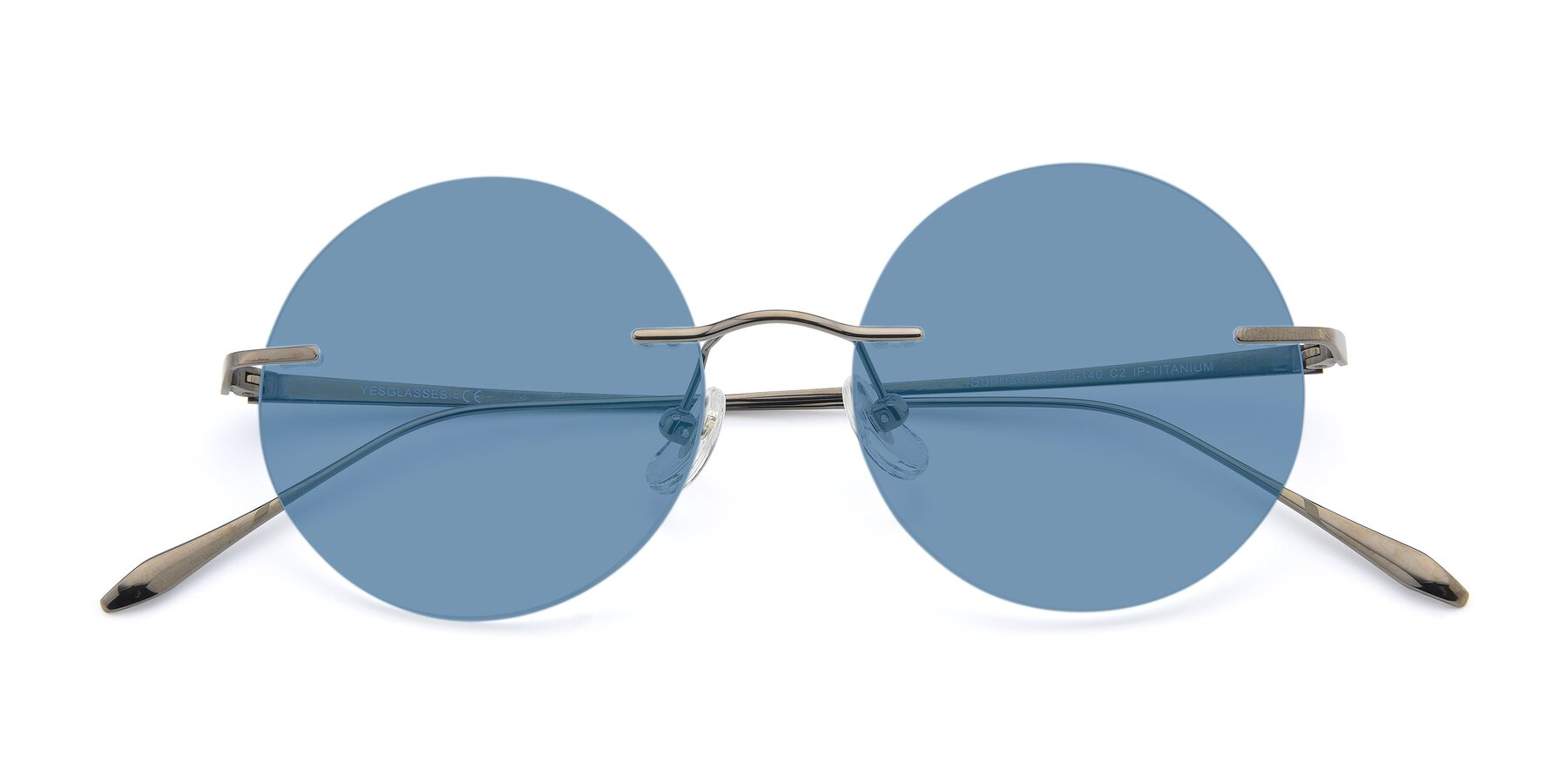 Folded Front of Sunrise in Gun with Medium Blue Tinted Lenses