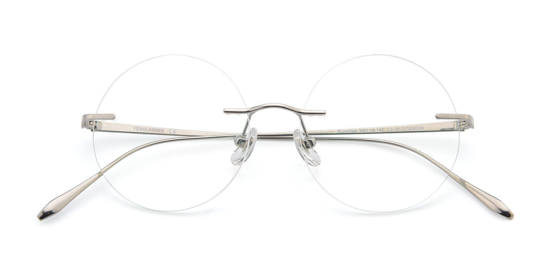 Folded Front of Sunrise in Silver with Clear Blue Light Blocking Lenses