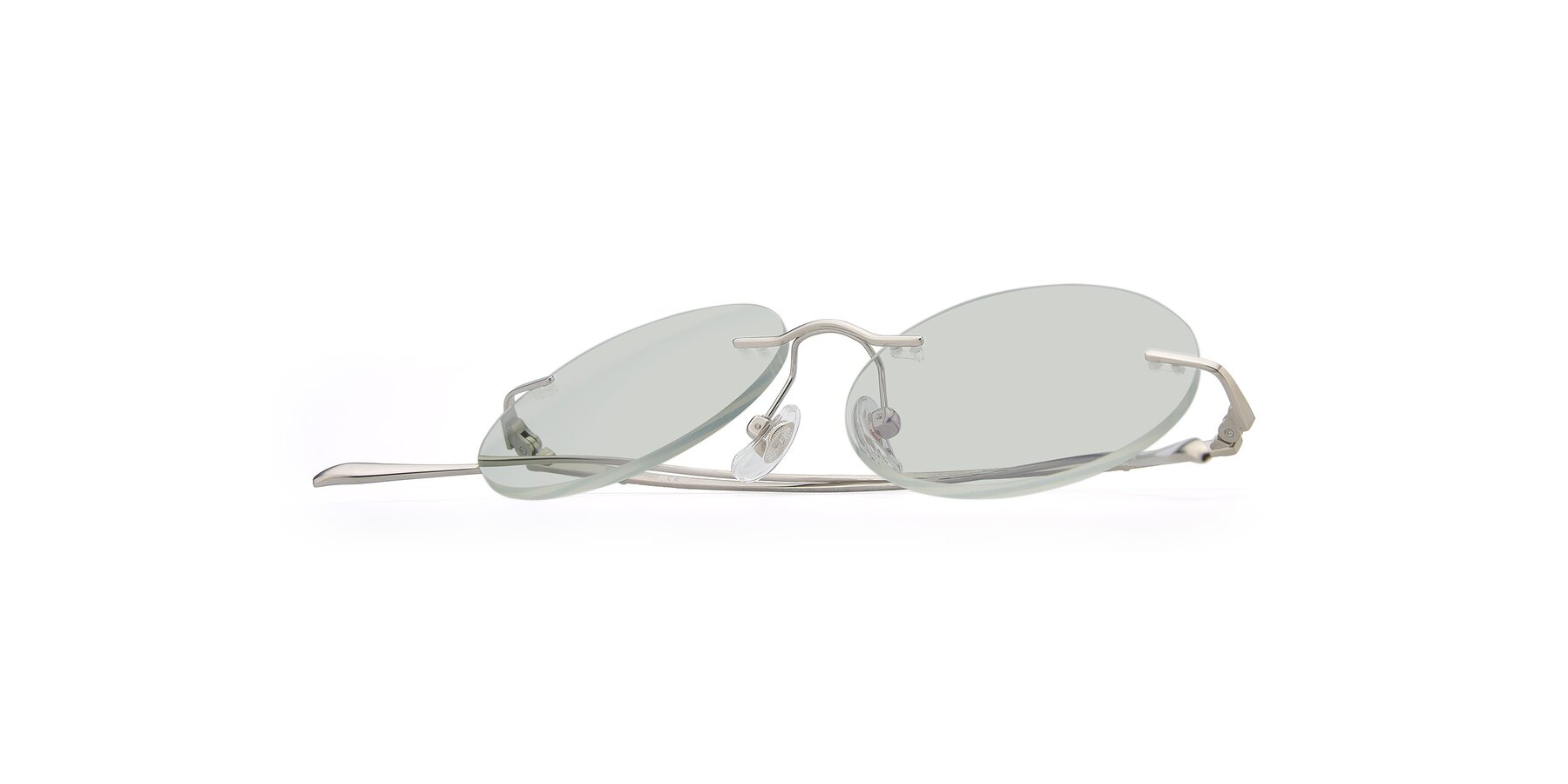 View of Sunrise in Silver with Light Green Tinted Lenses