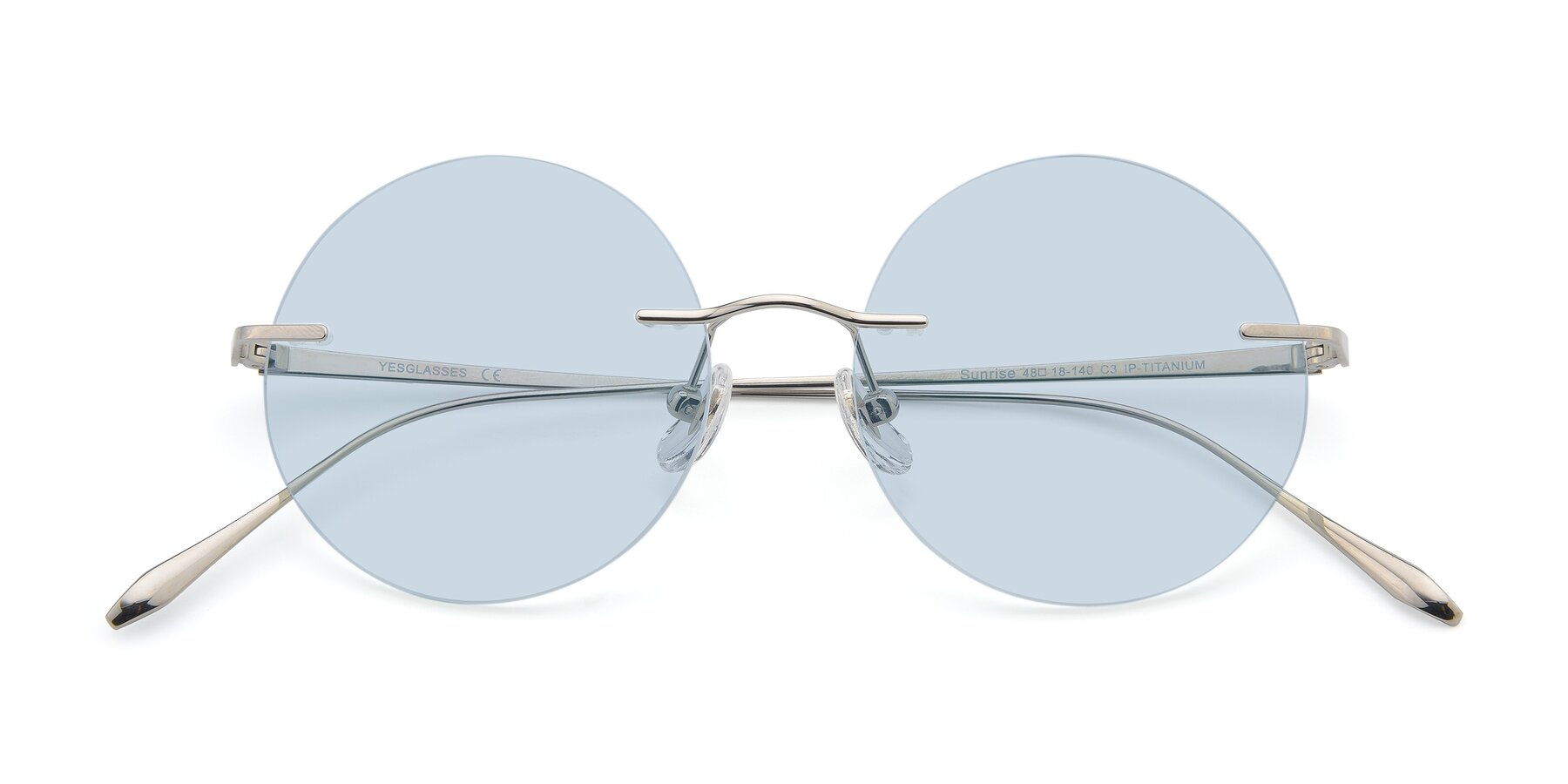 Folded Front of Sunrise in Silver with Light Blue Tinted Lenses
