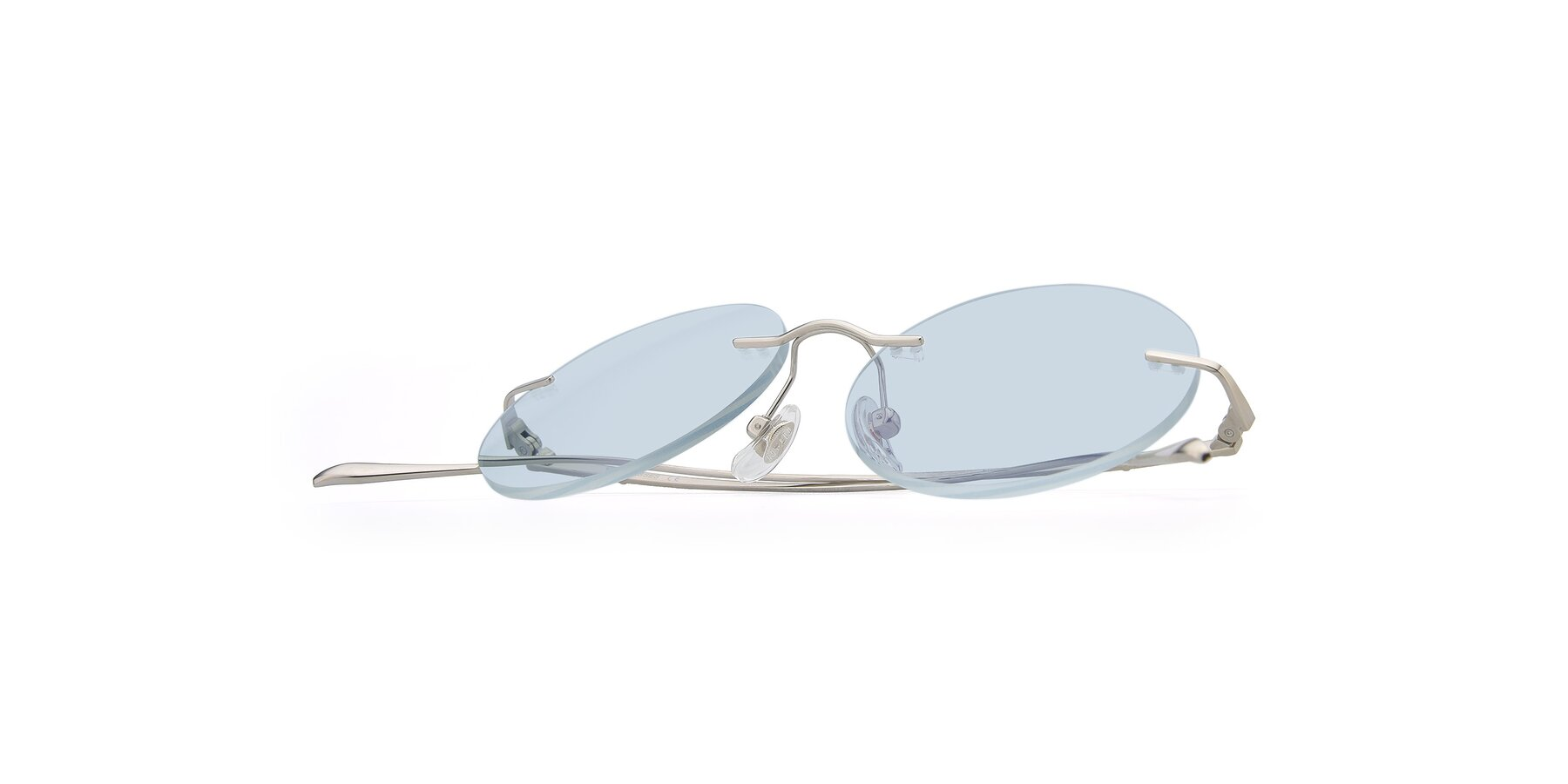 View of Sunrise in Silver with Light Blue Tinted Lenses