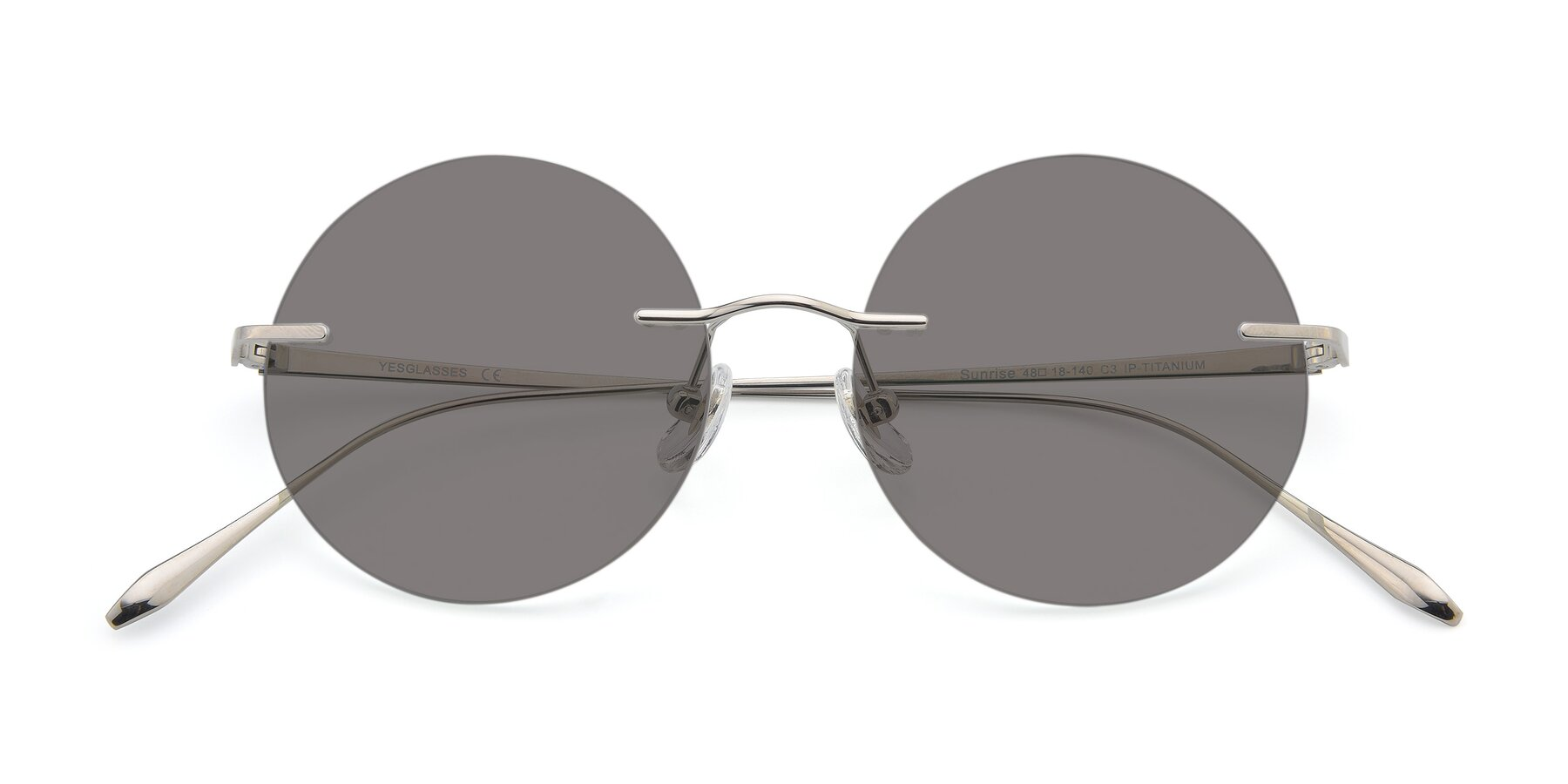 Folded Front of Sunrise in Silver with Medium Gray Tinted Lenses