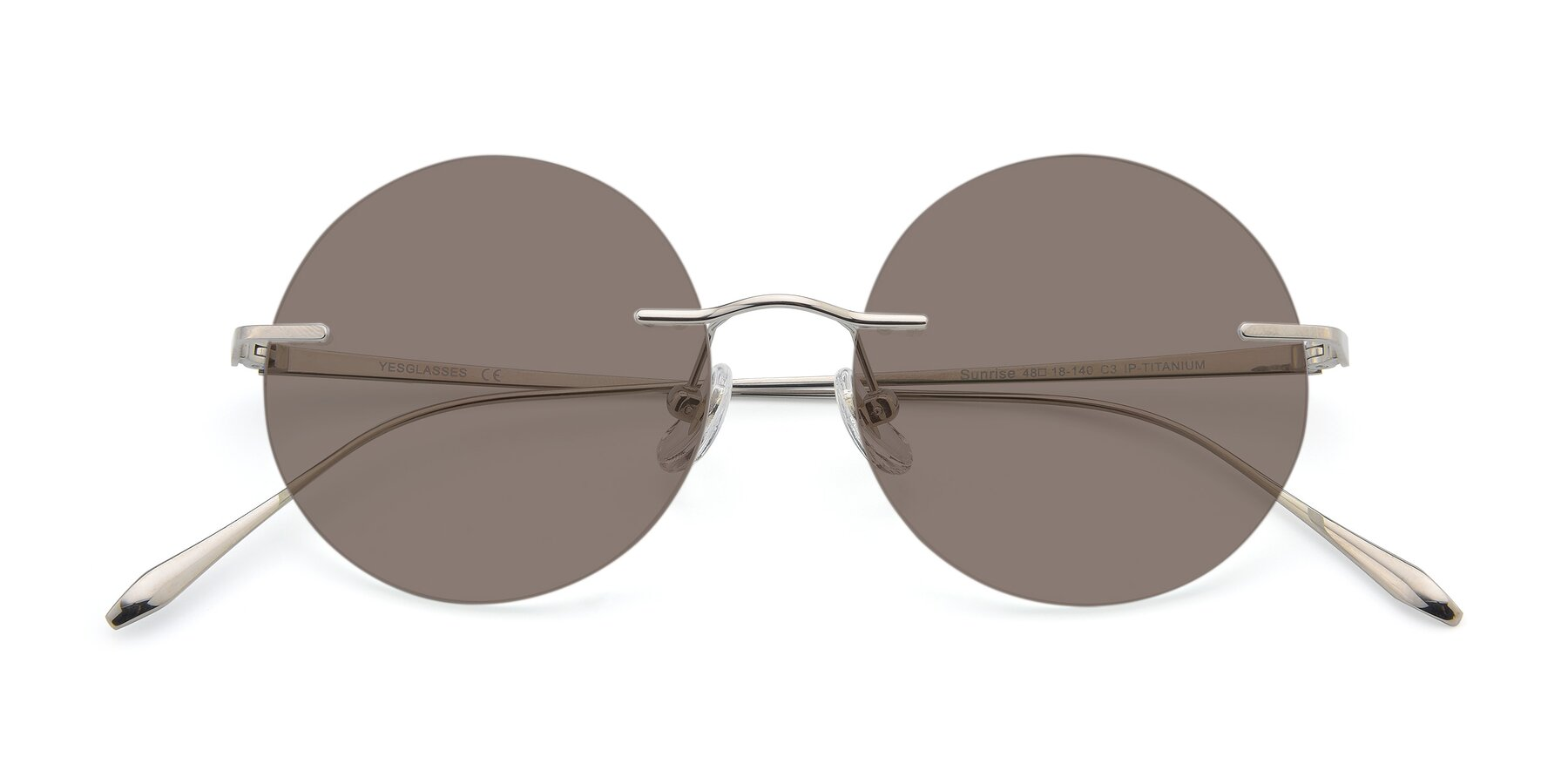 Folded Front of Sunrise in Silver with Medium Brown Tinted Lenses