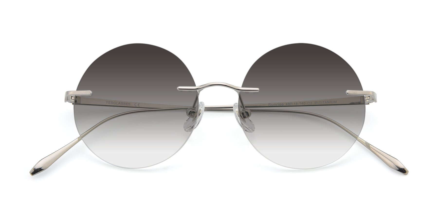 Folded Front of Sunrise in Silver with Gray Gradient Lenses