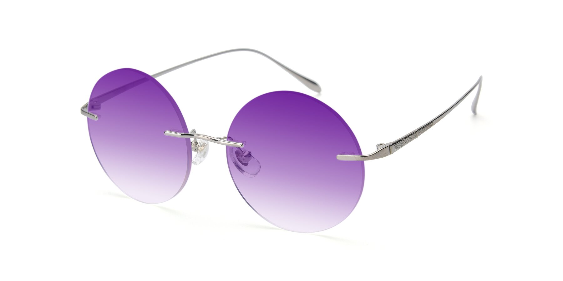Angle of Sunrise in Silver with Purple Gradient Lenses