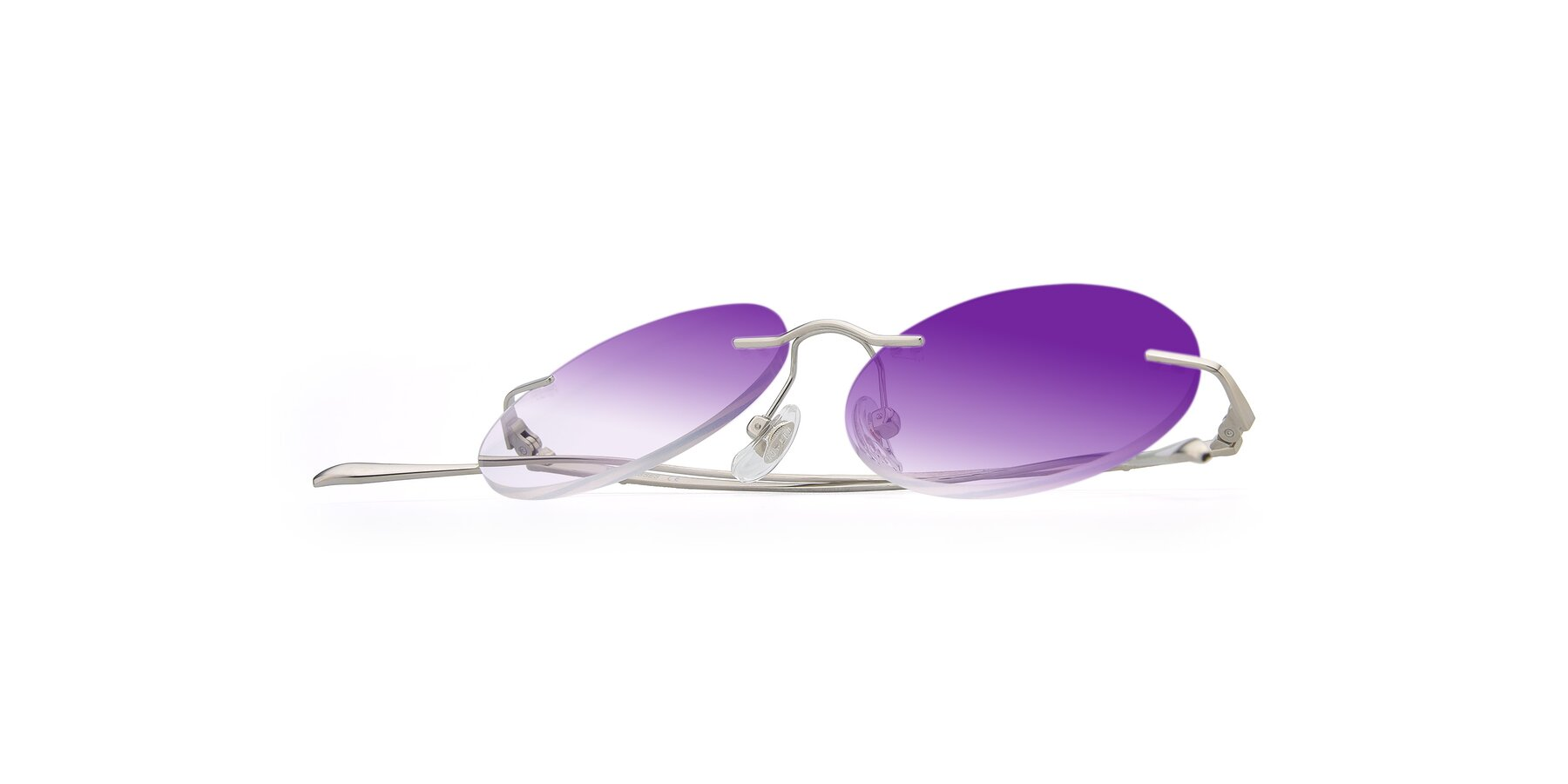 View of Sunrise in Silver with Purple Gradient Lenses
