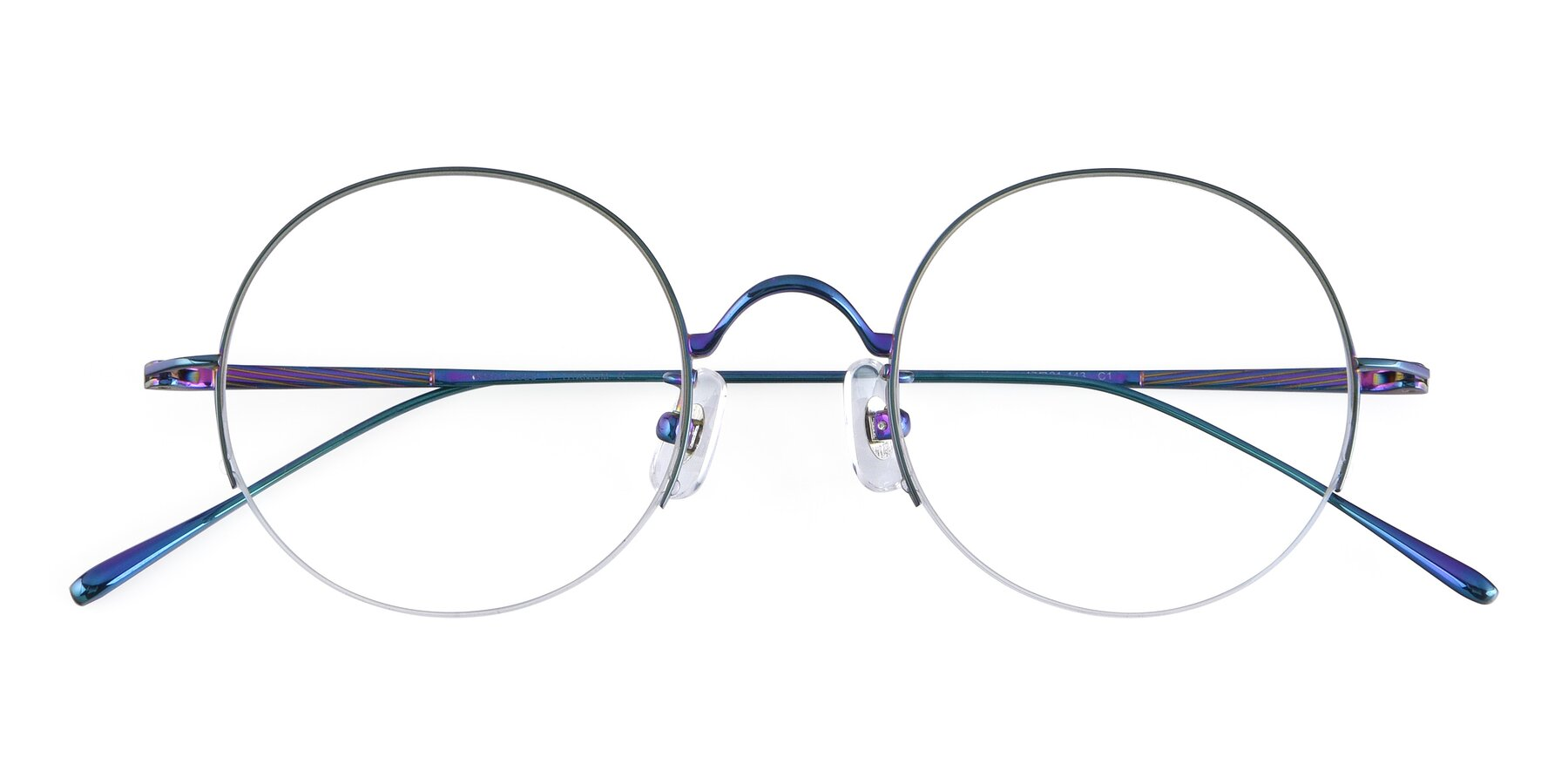 Folded Front of Harry in Peafowl Green with Clear Eyeglass Lenses