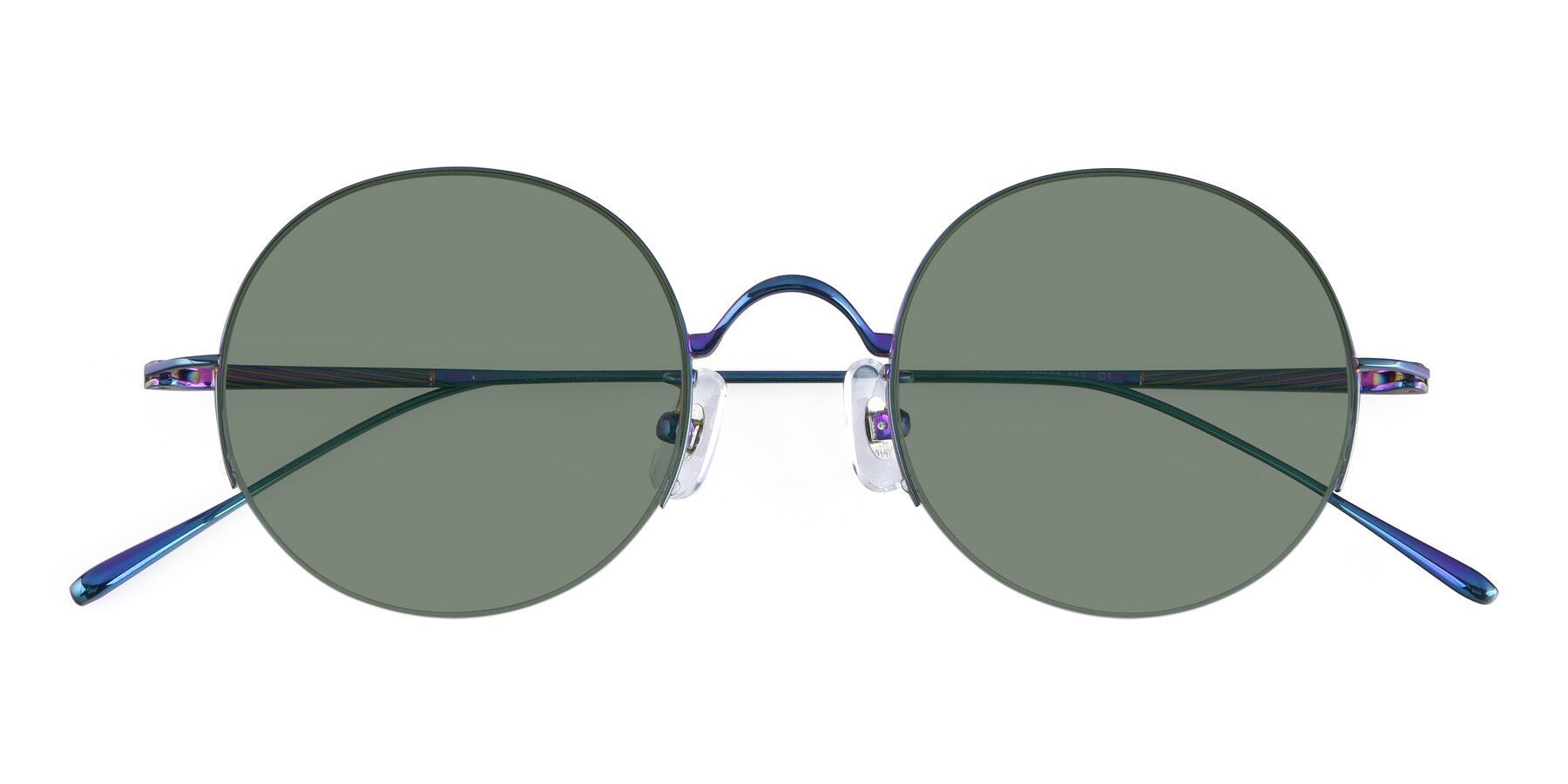 Folded Front of Harry in Peafowl Green with Medium Green Tinted Lenses