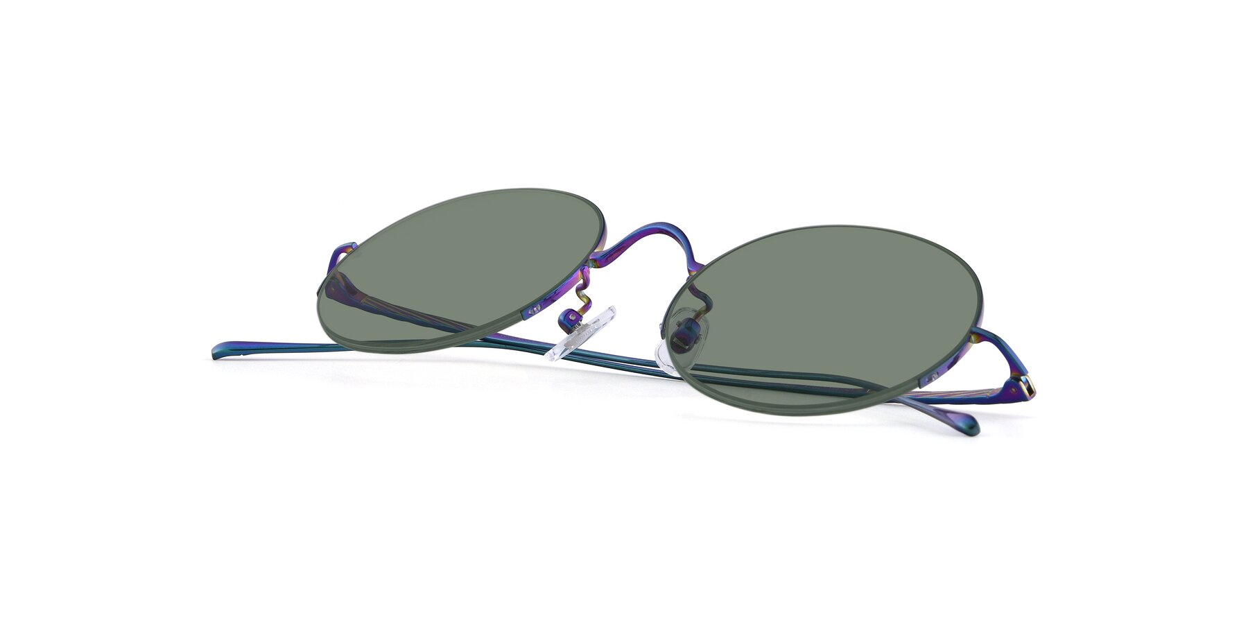 View of Harry in Peafowl Green with Medium Green Tinted Lenses