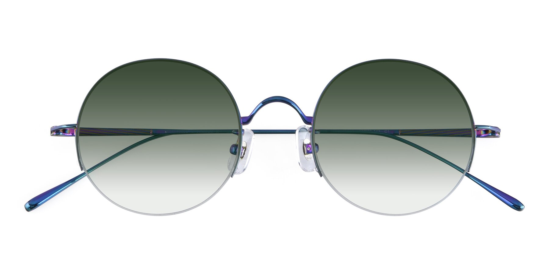 Folded Front of Harry in Peafowl Green with Green Gradient Lenses