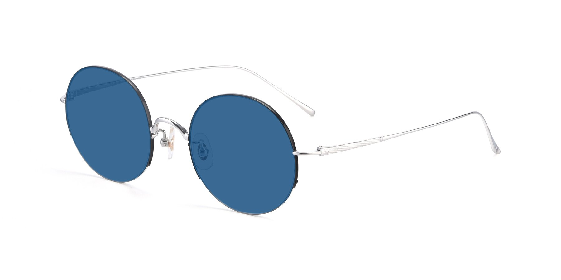 Angle of Harry in Black-Silver with Blue Tinted Lenses