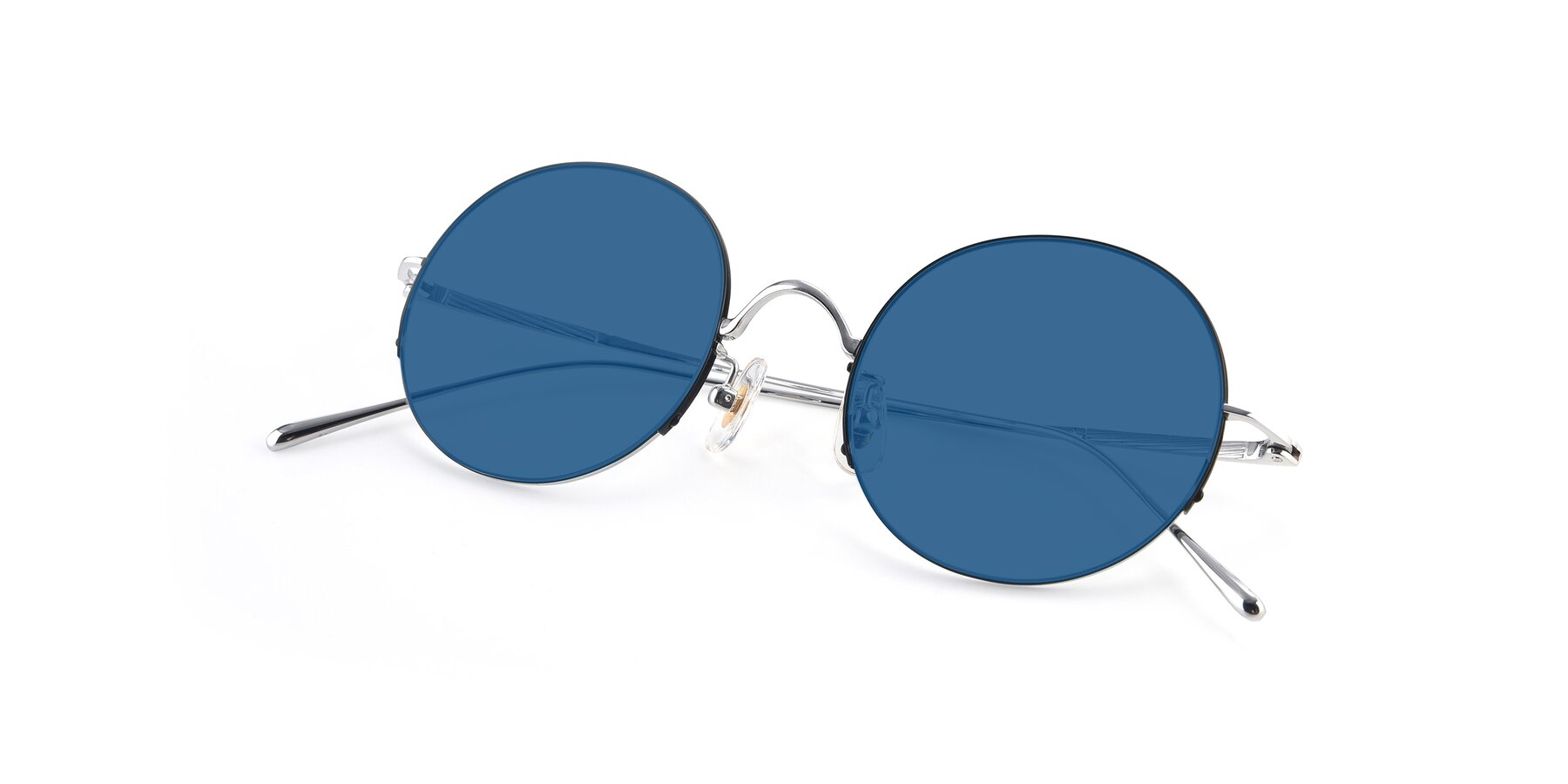 View of Harry in Black-Silver with Blue Tinted Lenses