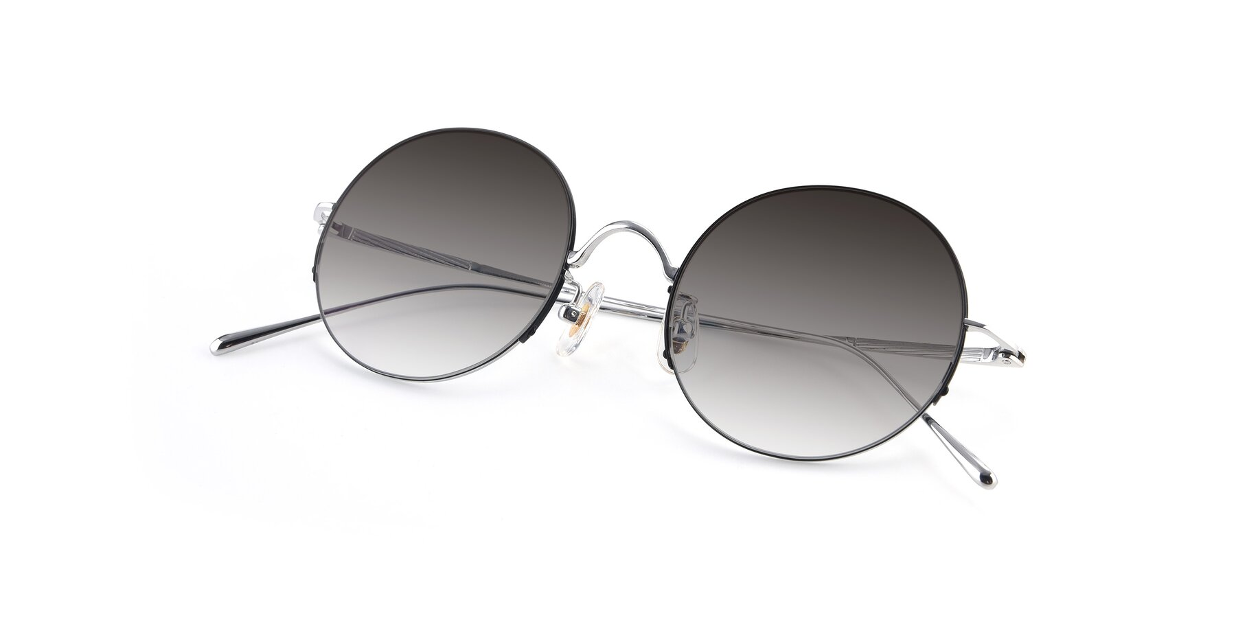 View of Harry in Black-Silver with Gray Gradient Lenses