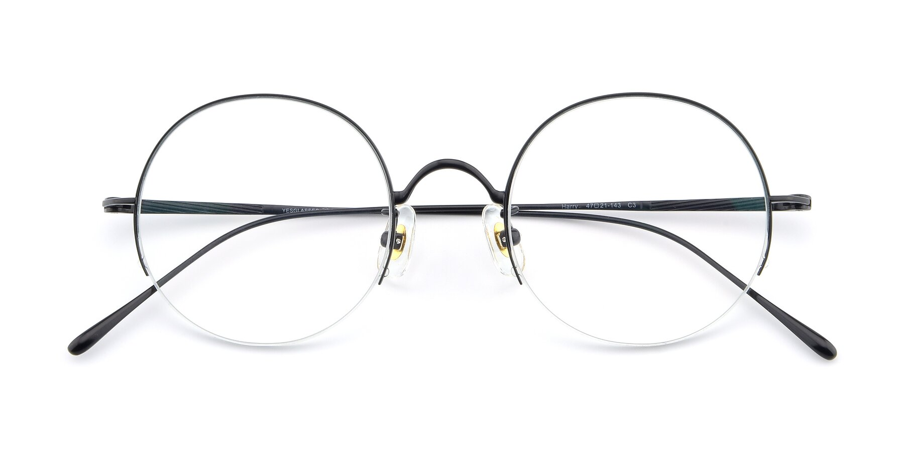 Folded Front of Harry in Matte Black with Clear Blue Light Blocking Lenses