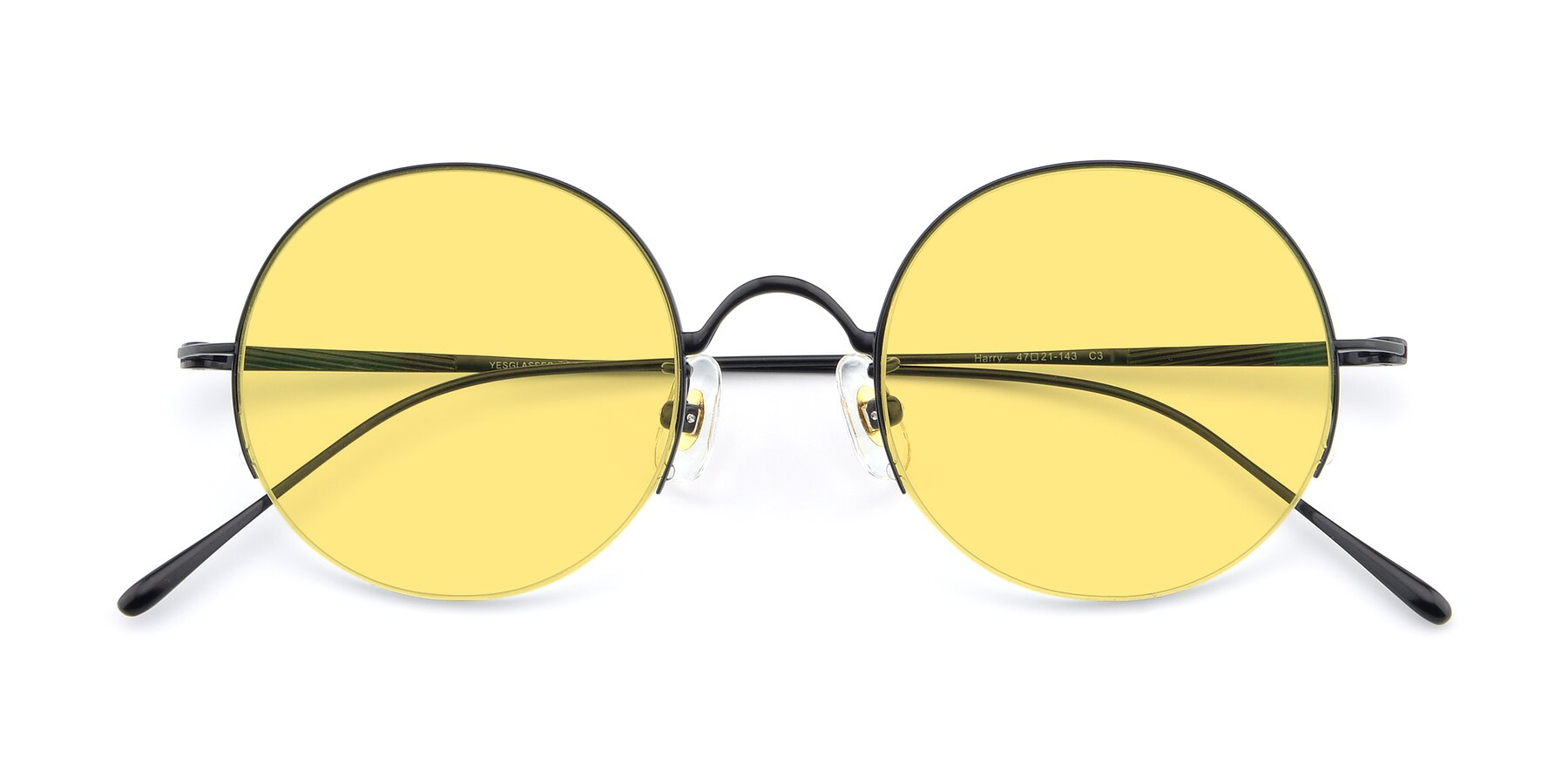 Folded Front of Harry in Matte Black with Medium Yellow Tinted Lenses
