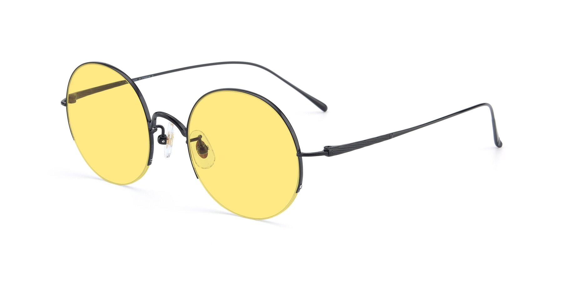 Angle of Harry in Matte Black with Medium Yellow Tinted Lenses