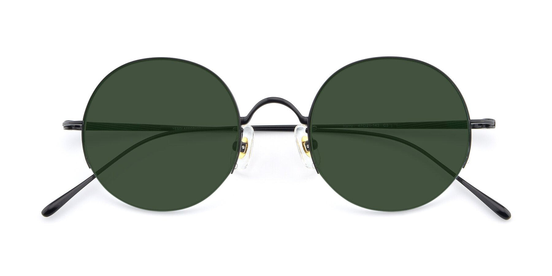 Folded Front of Harry in Matte Black with Green Tinted Lenses