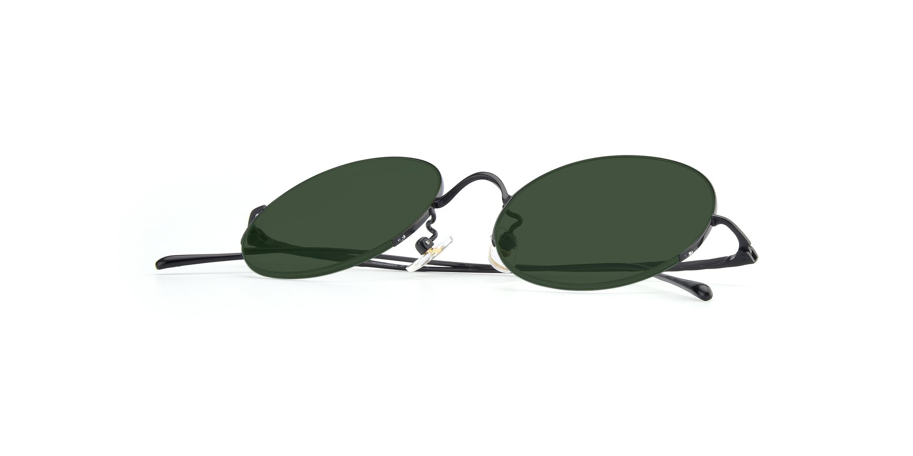 View of Harry in Matte Black with Green Tinted Lenses