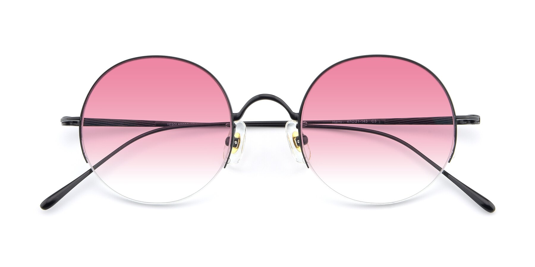 Folded Front of Harry in Matte Black with Pink Gradient Lenses