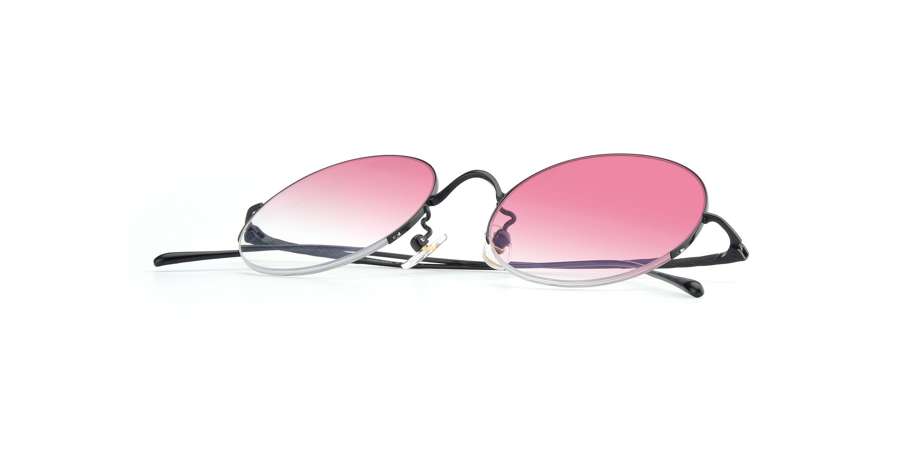 View of Harry in Matte Black with Pink Gradient Lenses