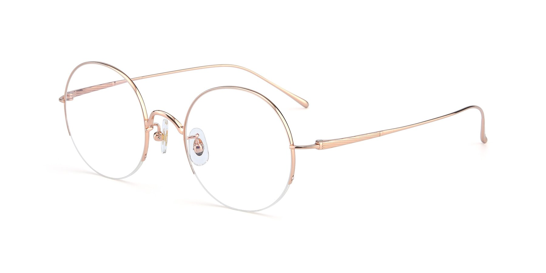 Angle of Harry in Rose Gold with Clear Blue Light Blocking Lenses