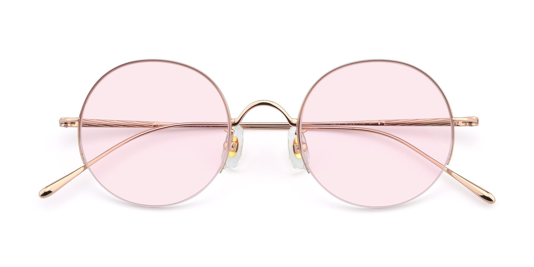 Folded Front of Harry in Rose Glod with Light Pink Tinted Lenses