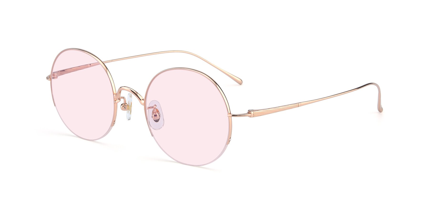 Angle of Harry in Rose Glod with Light Pink Tinted Lenses
