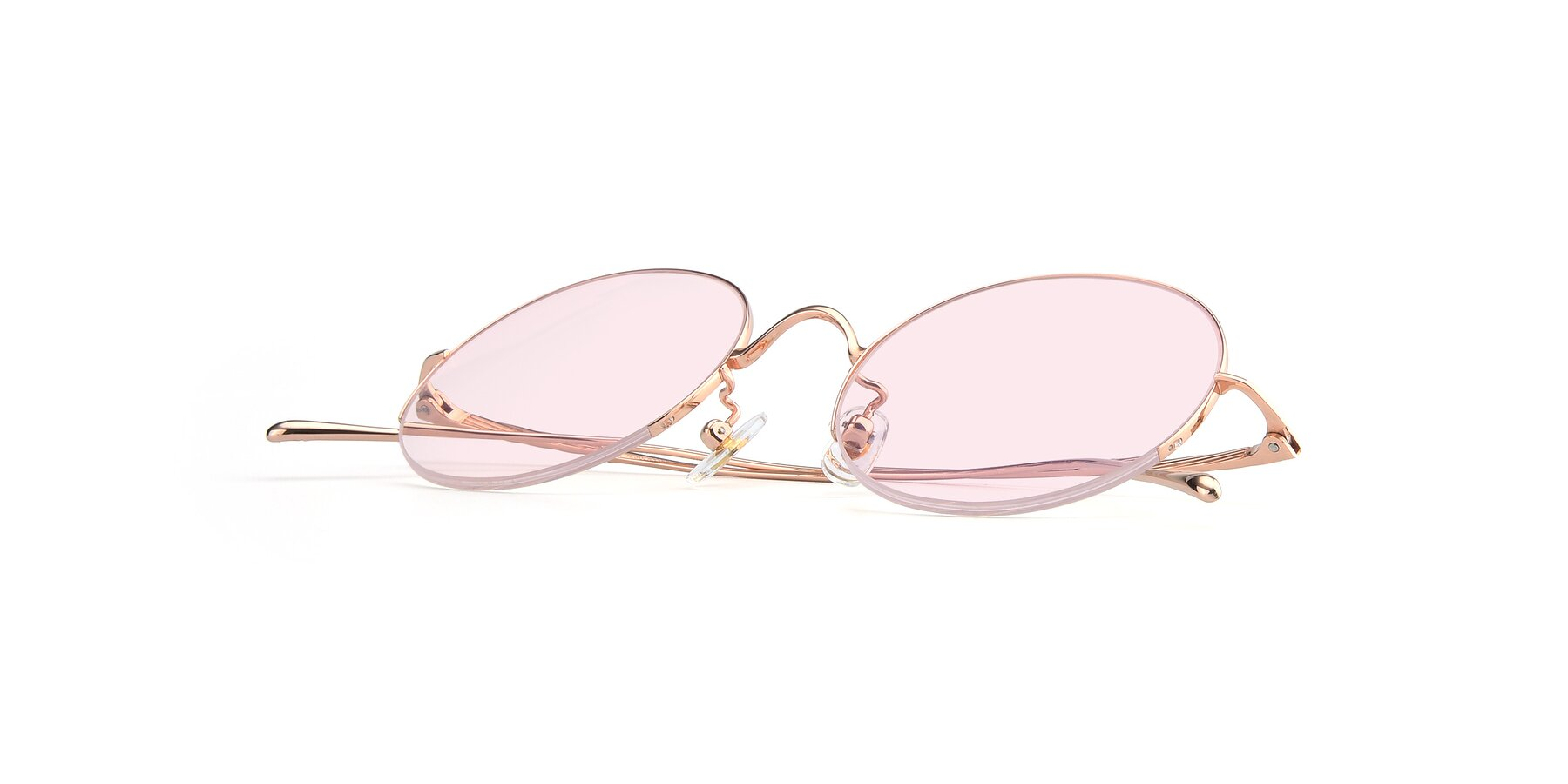 View of Harry in Rose Glod with Light Pink Tinted Lenses