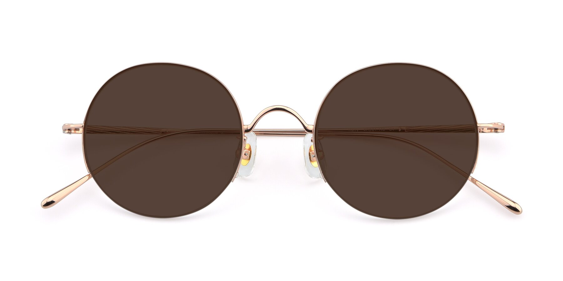 Folded Front of Harry in Rose Glod with Brown Tinted Lenses