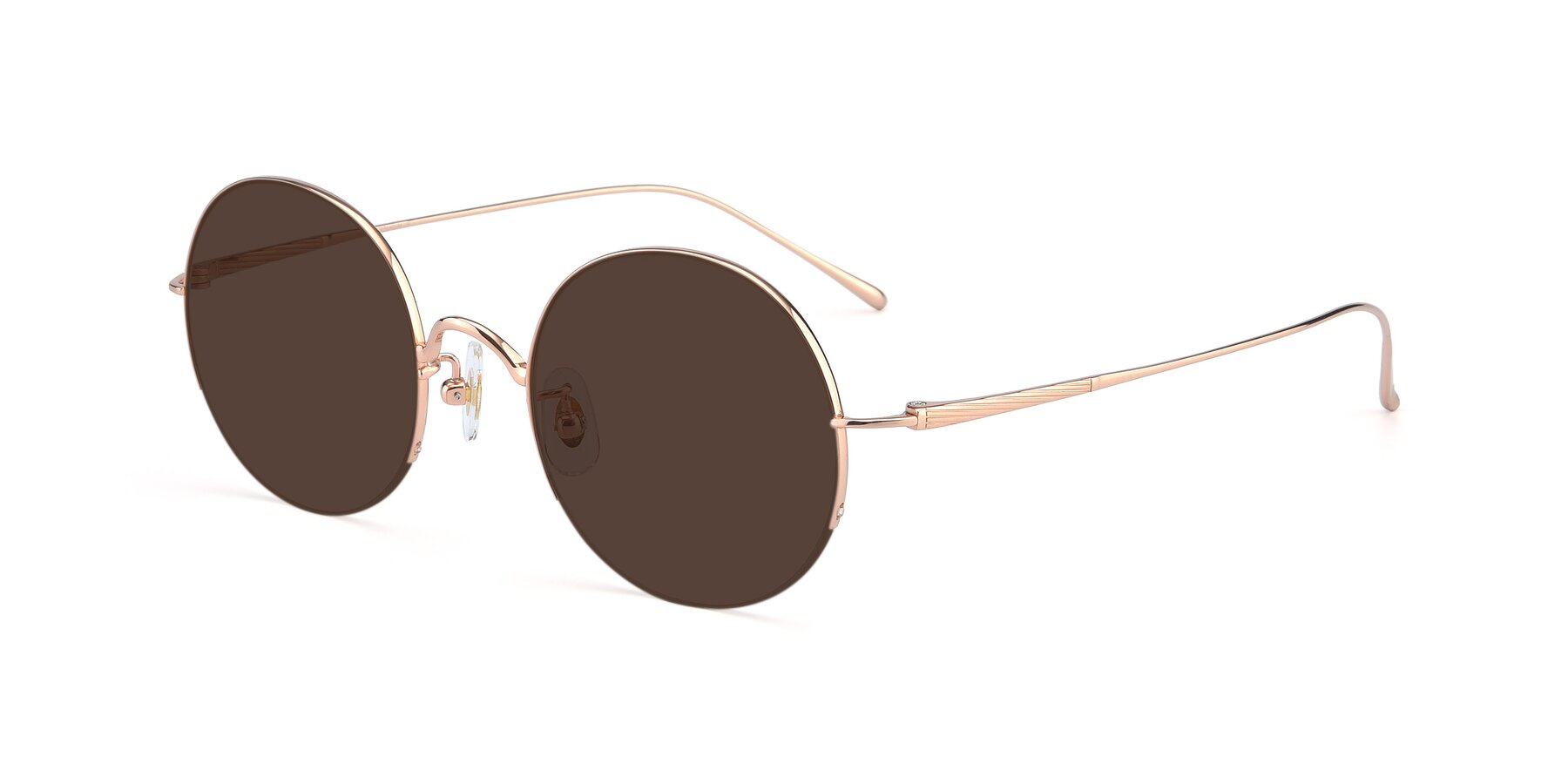 Angle of Harry in Rose Glod with Brown Tinted Lenses