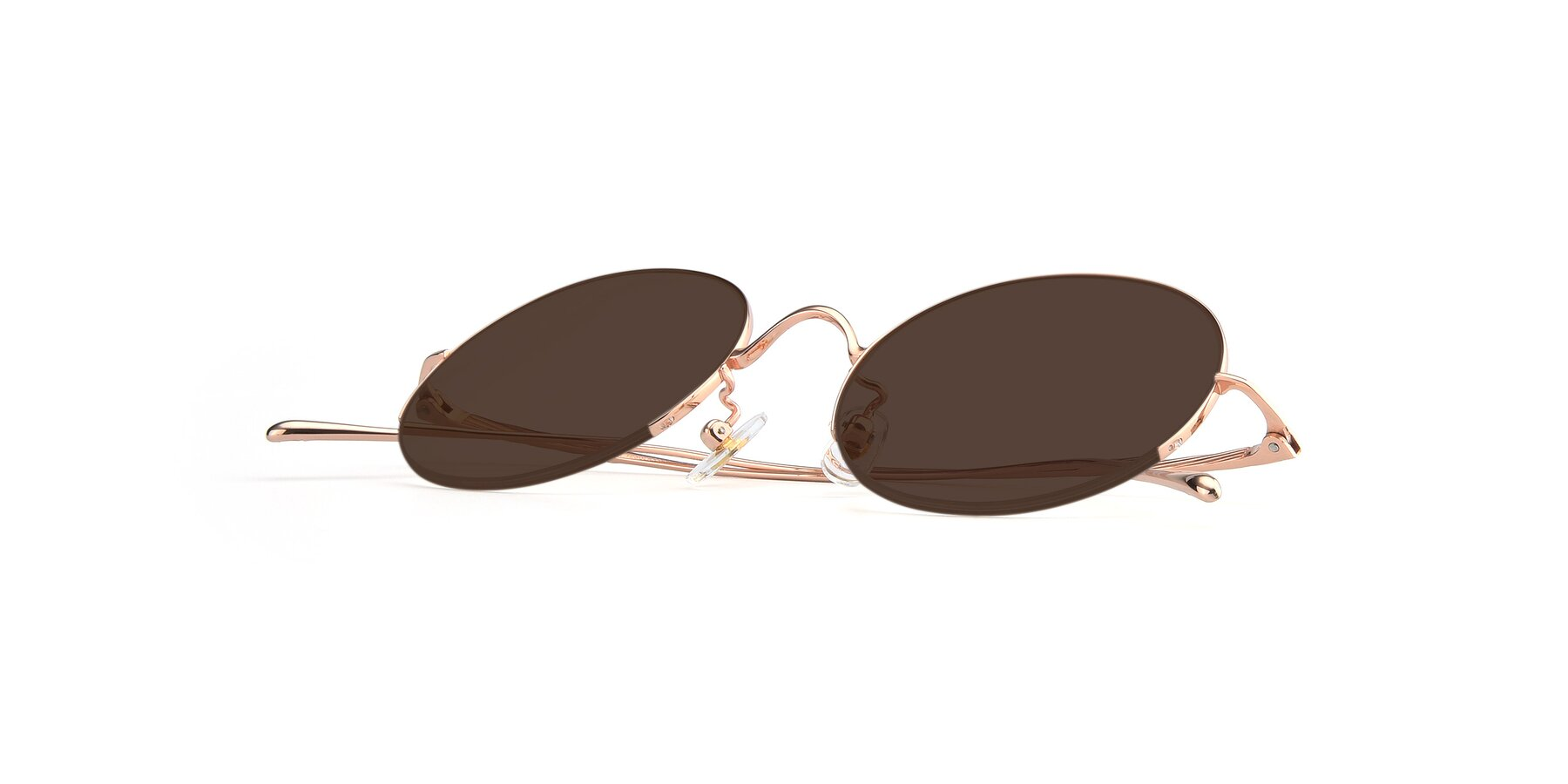 View of Harry in Rose Glod with Brown Tinted Lenses