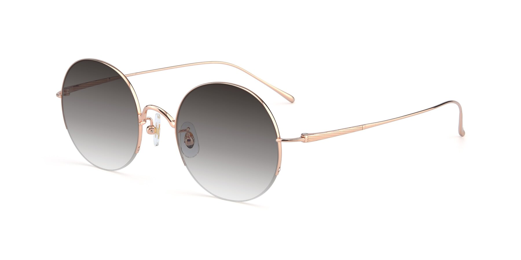 Angle of Harry in Rose Glod with Gray Gradient Lenses