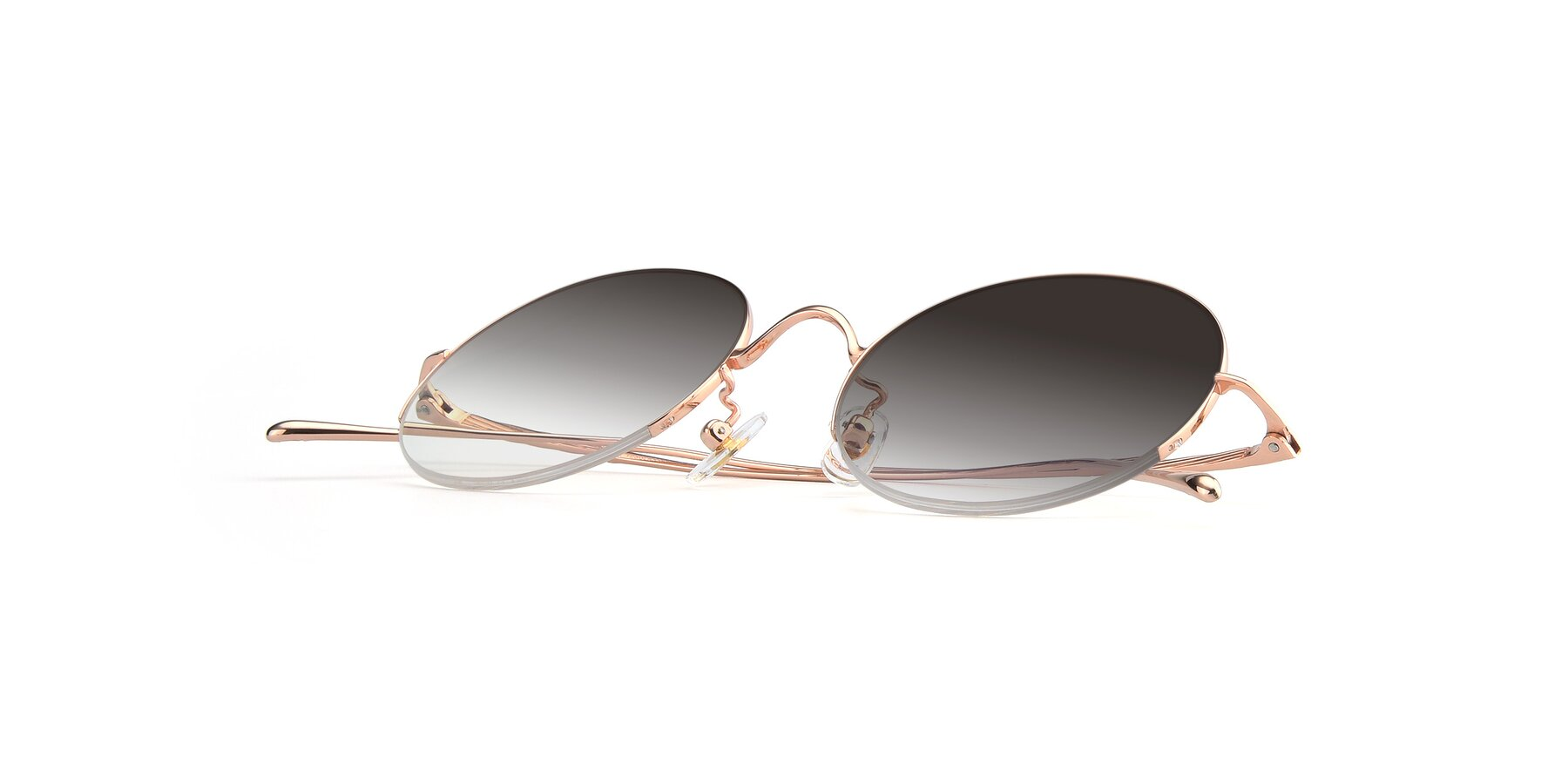 View of Harry in Rose Glod with Gray Gradient Lenses
