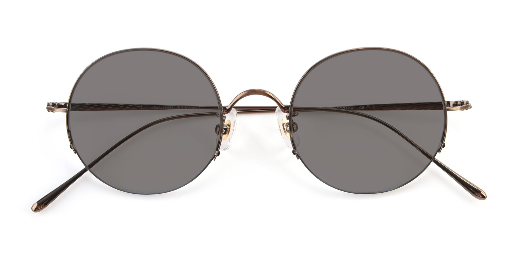 Folded Front of Harry in Bronze with Medium Gray Tinted Lenses