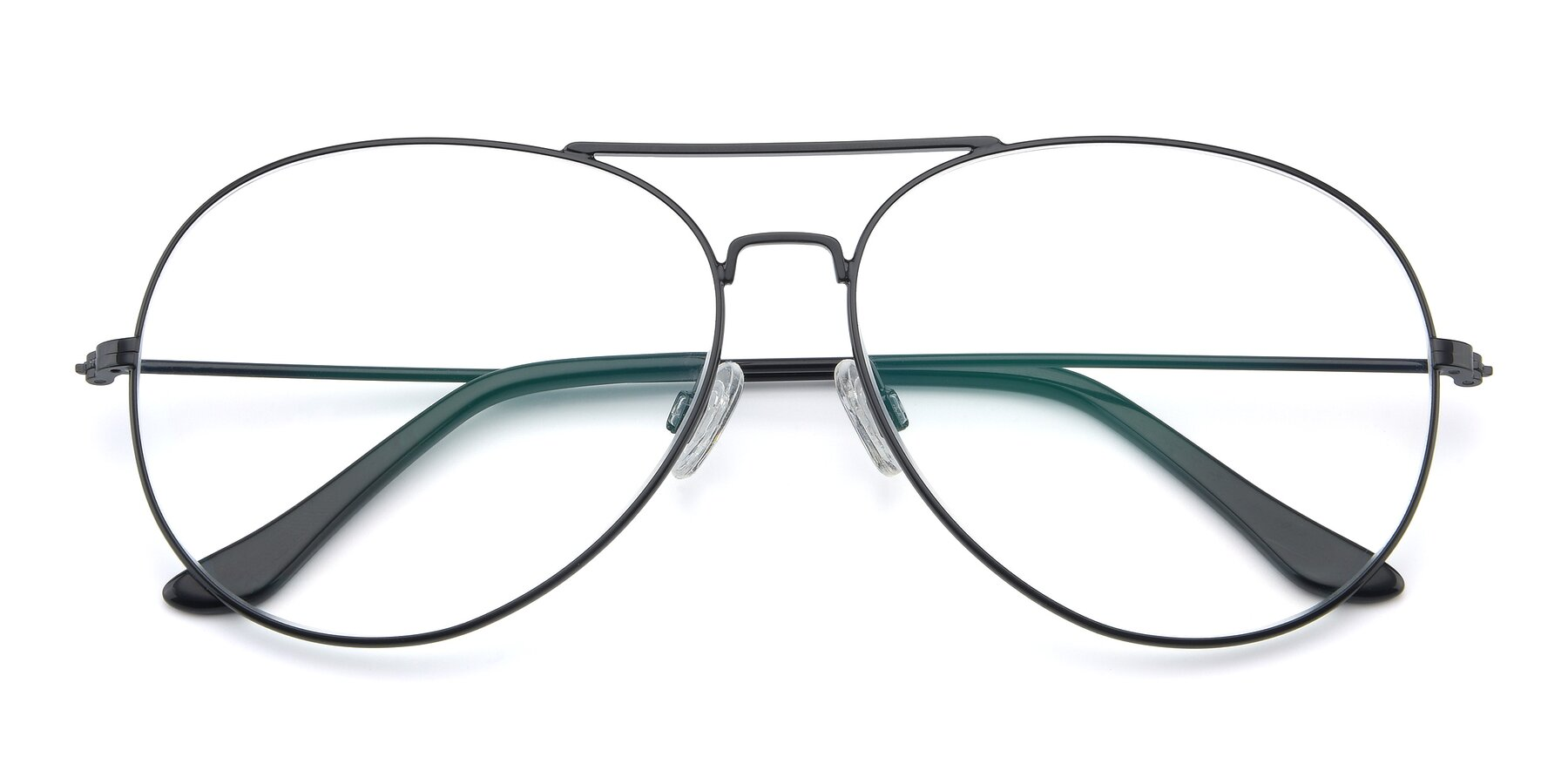Folded Front of Paradise in Black with Clear Eyeglass Lenses