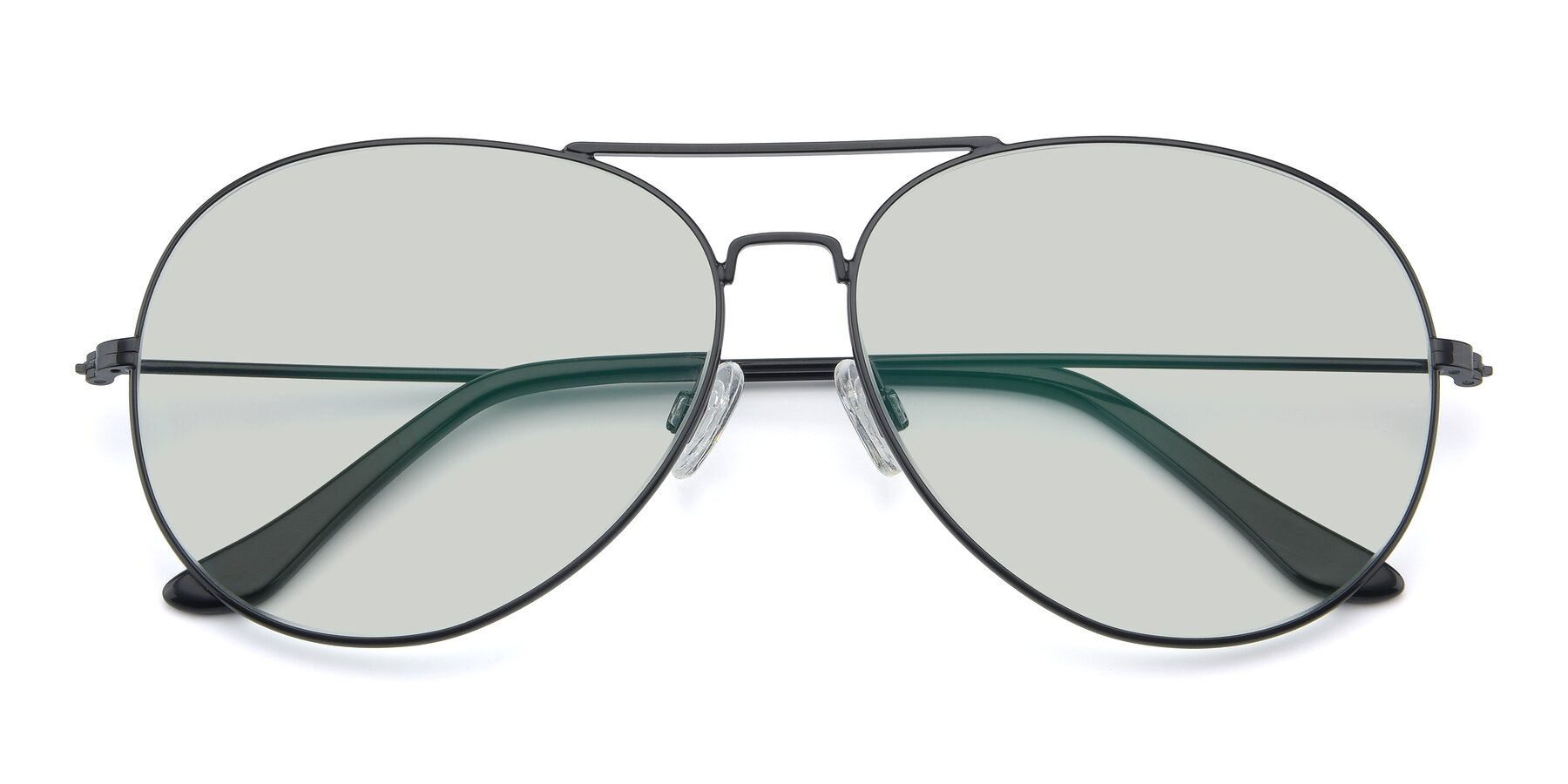 Folded Front of Paradise in Black with Light Green Tinted Lenses