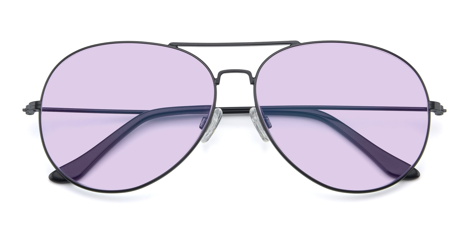 Folded Front of Paradise in Black with Light Purple Tinted Lenses