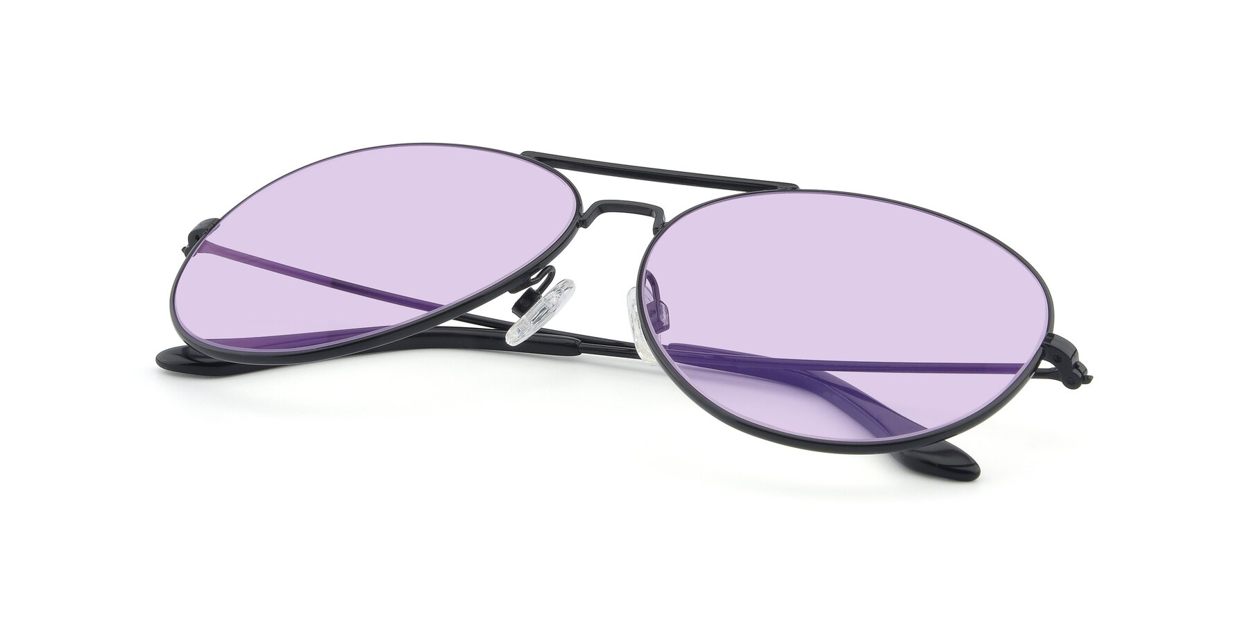 View of Paradise in Black with Light Purple Tinted Lenses
