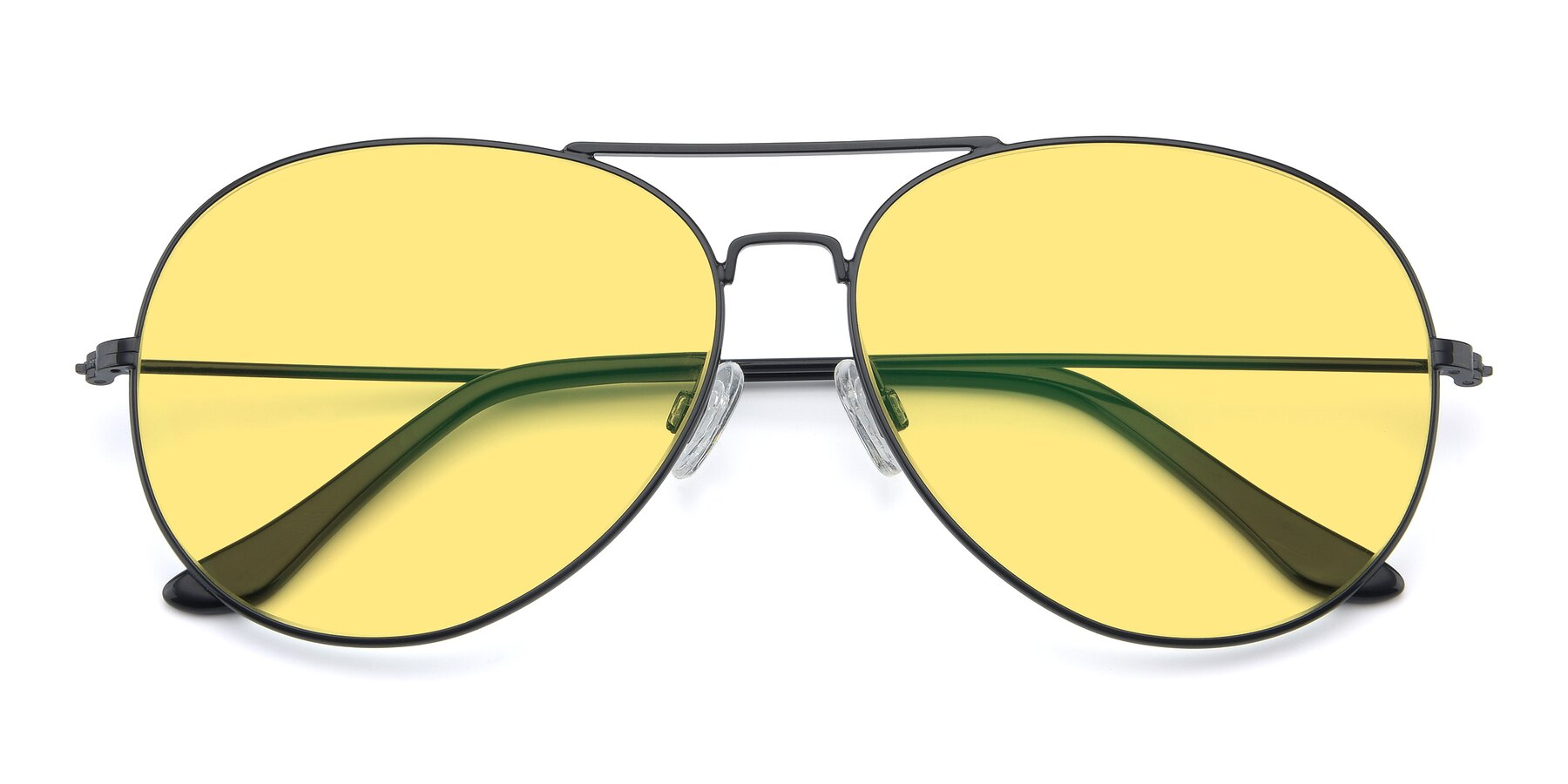 Folded Front of Paradise in Black with Medium Yellow Tinted Lenses