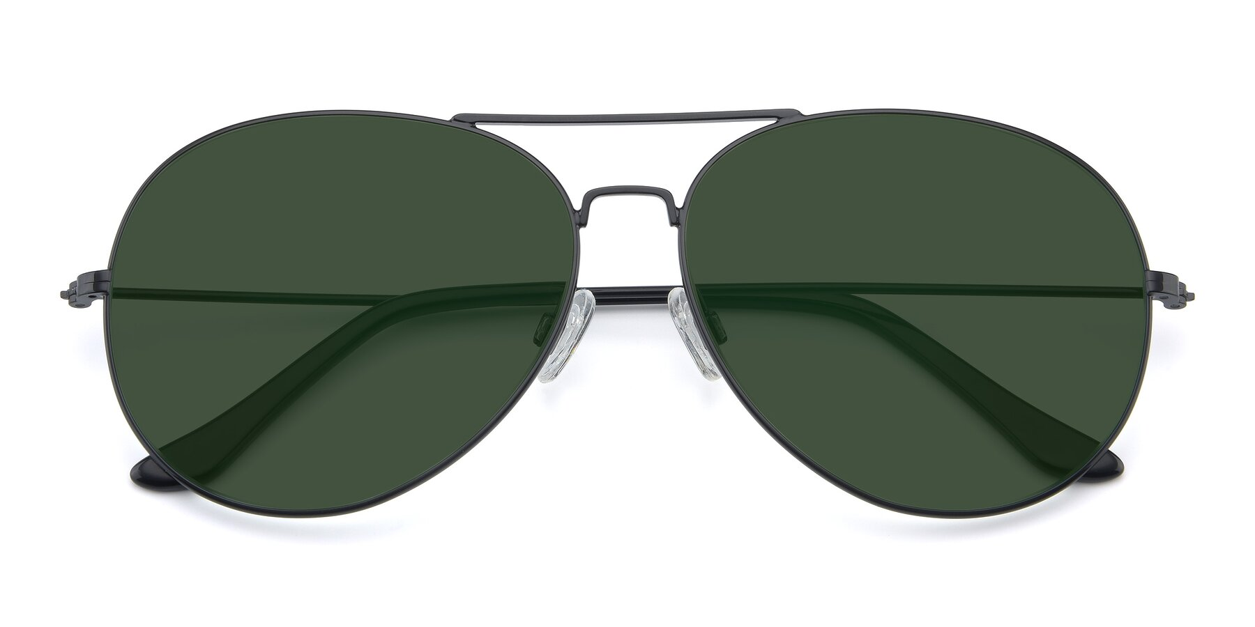 Folded Front of Paradise in Black with Green Tinted Lenses