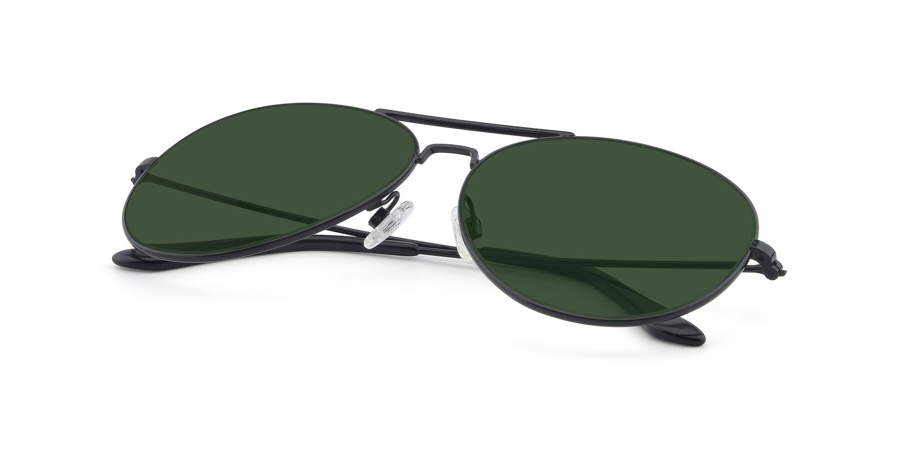 View of Paradise in Black with Green Tinted Lenses