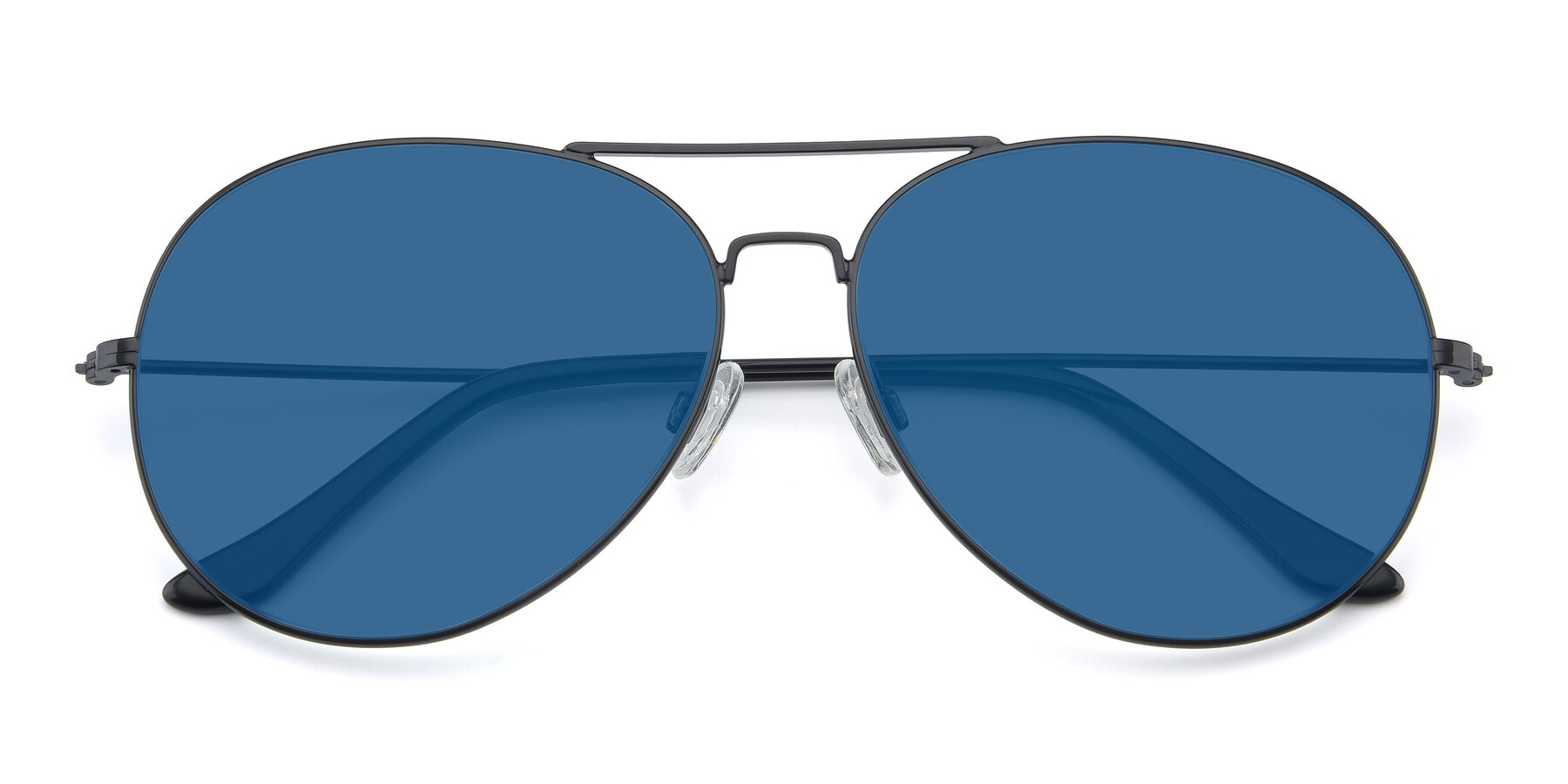 Folded Front of Paradise in Black with Blue Tinted Lenses