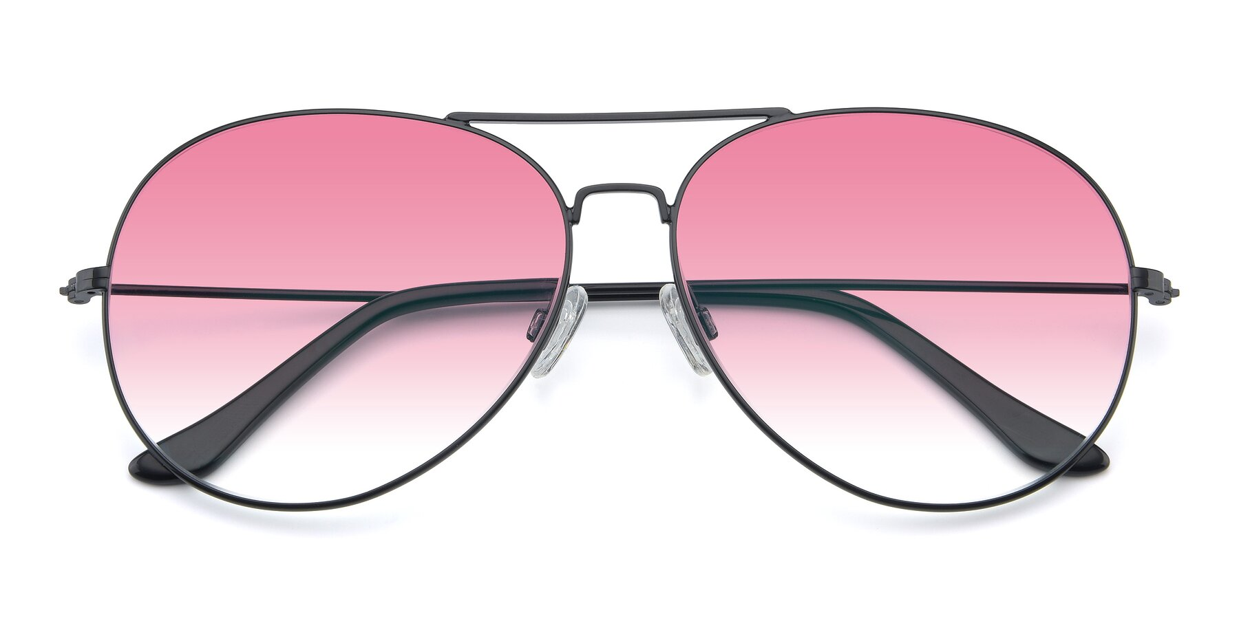 Folded Front of Paradise in Black with Pink Gradient Lenses