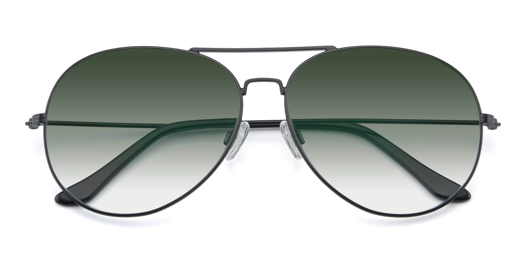 Folded Front of Paradise in Black with Green Gradient Lenses