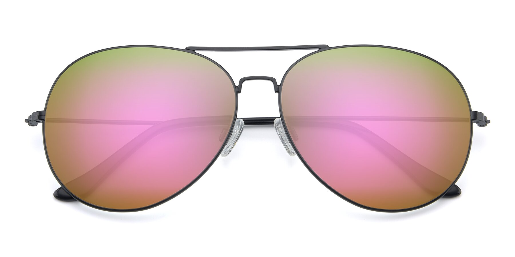 Folded Front of Paradise in Black with Pink Mirrored Lenses