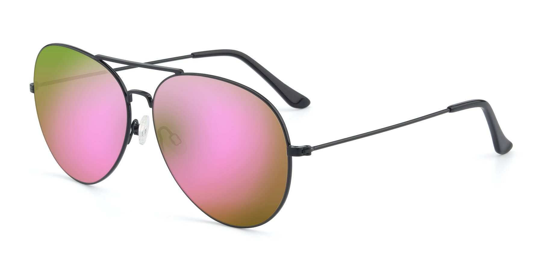 Angle of Paradise in Black with Pink Mirrored Lenses